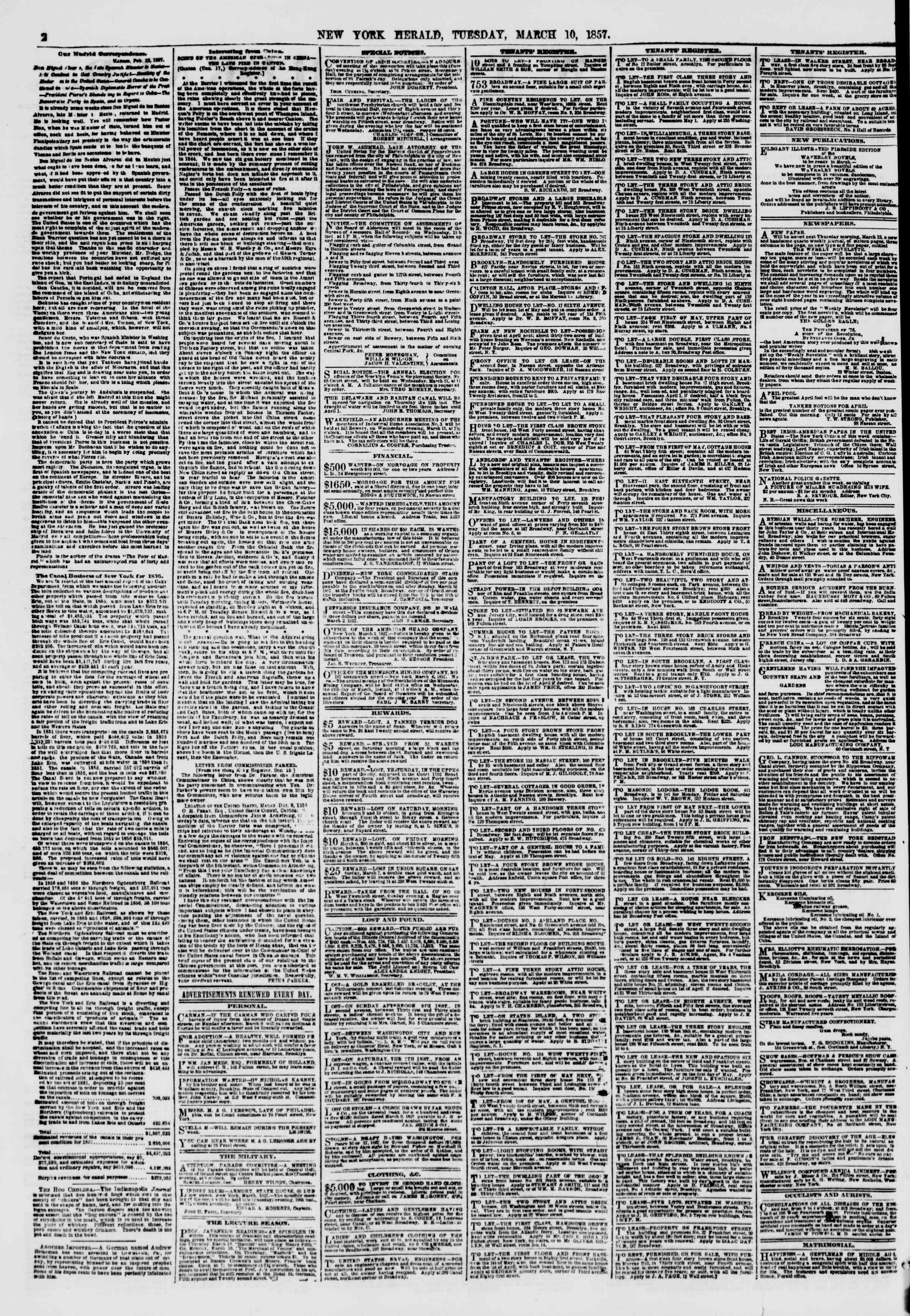 Newspaper of The New York Herald dated March 10, 1857 Page 2