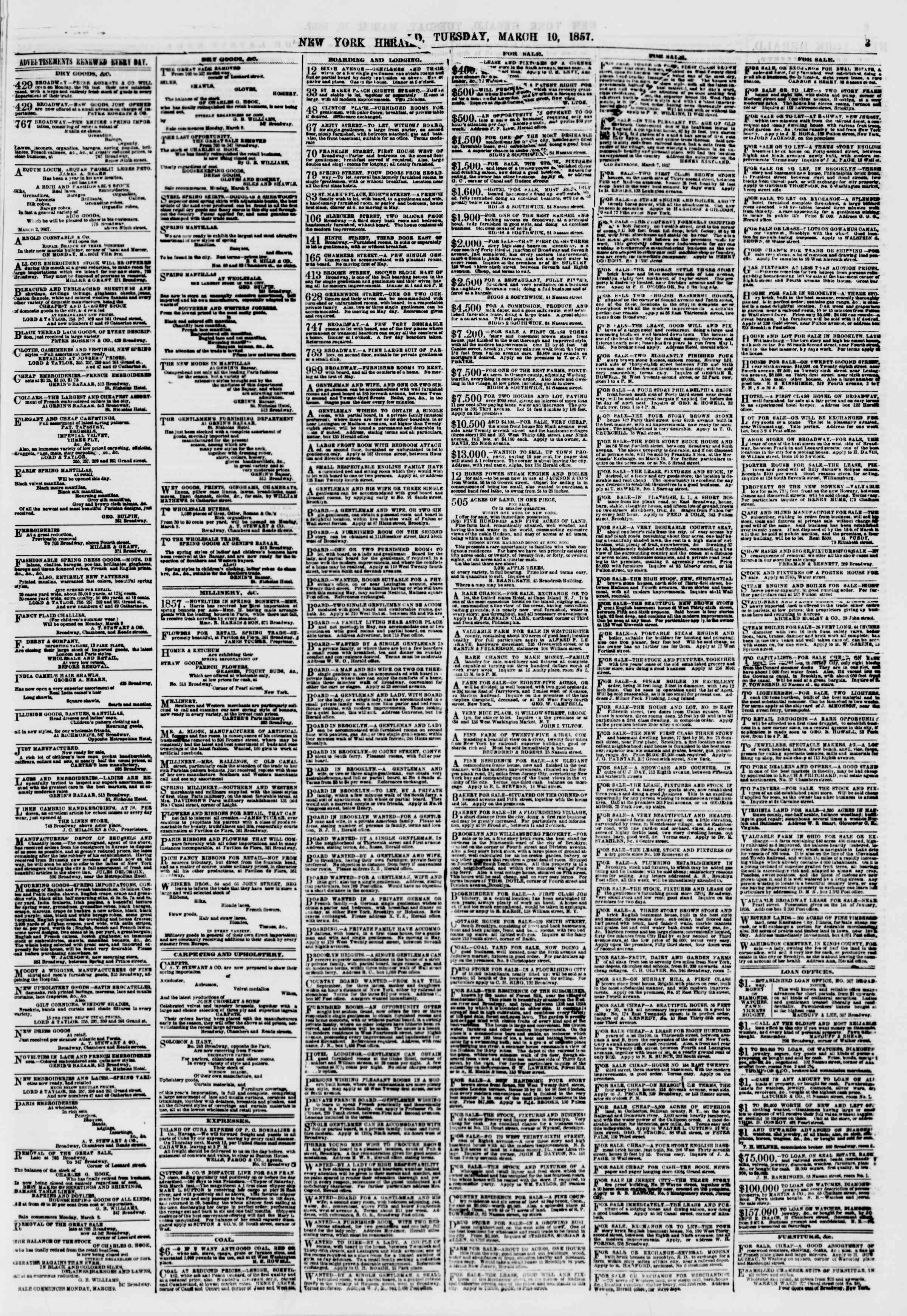 Newspaper of The New York Herald dated March 10, 1857 Page 3