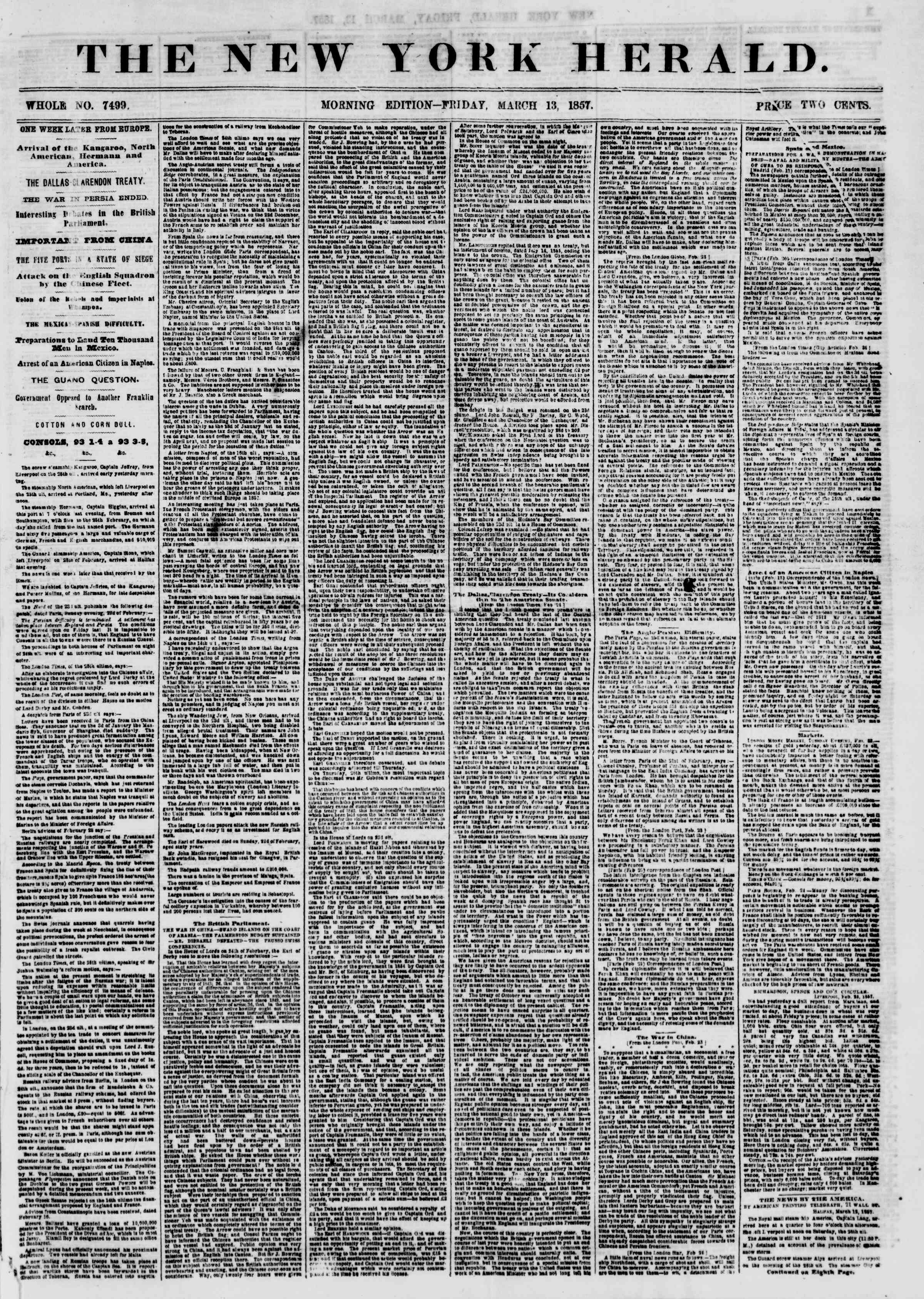 Newspaper of The New York Herald dated March 13, 1857 Page 1