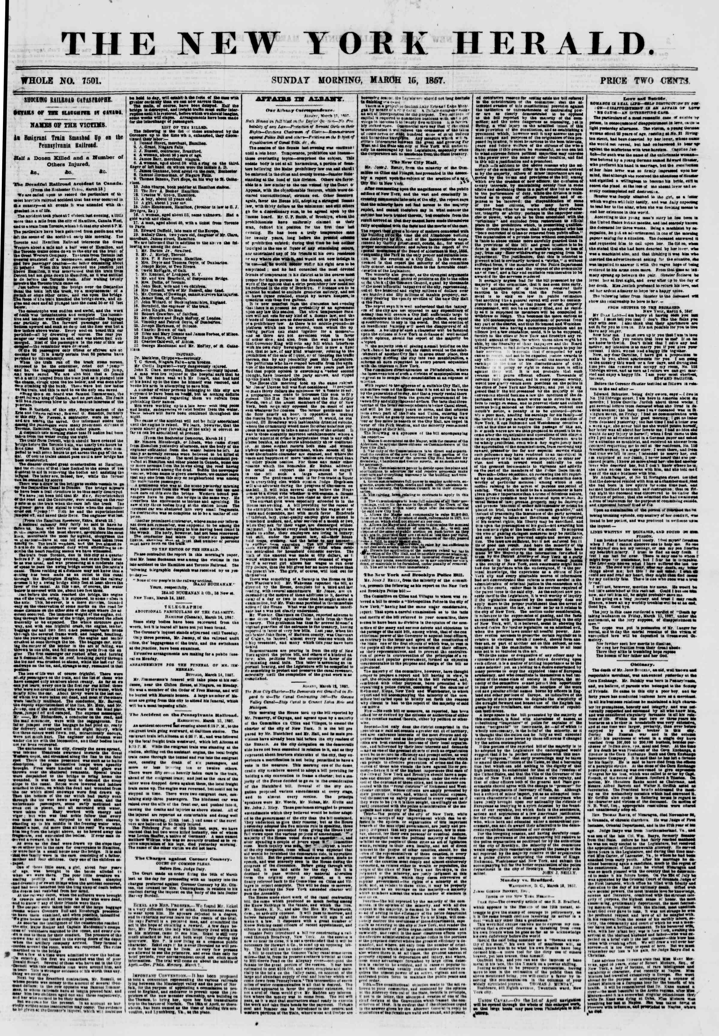 Newspaper of The New York Herald dated March 15, 1857 Page 1
