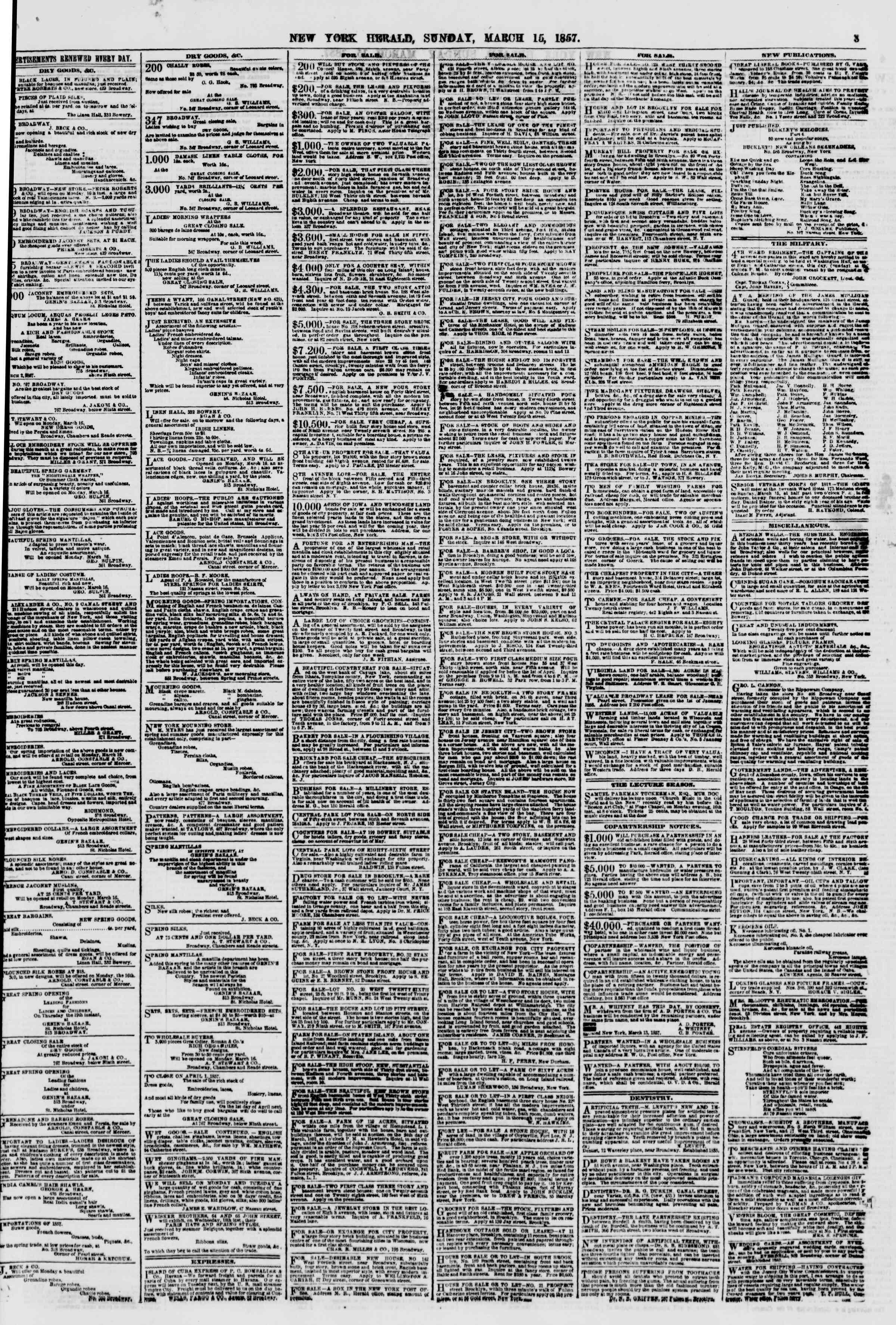 Newspaper of The New York Herald dated March 15, 1857 Page 3
