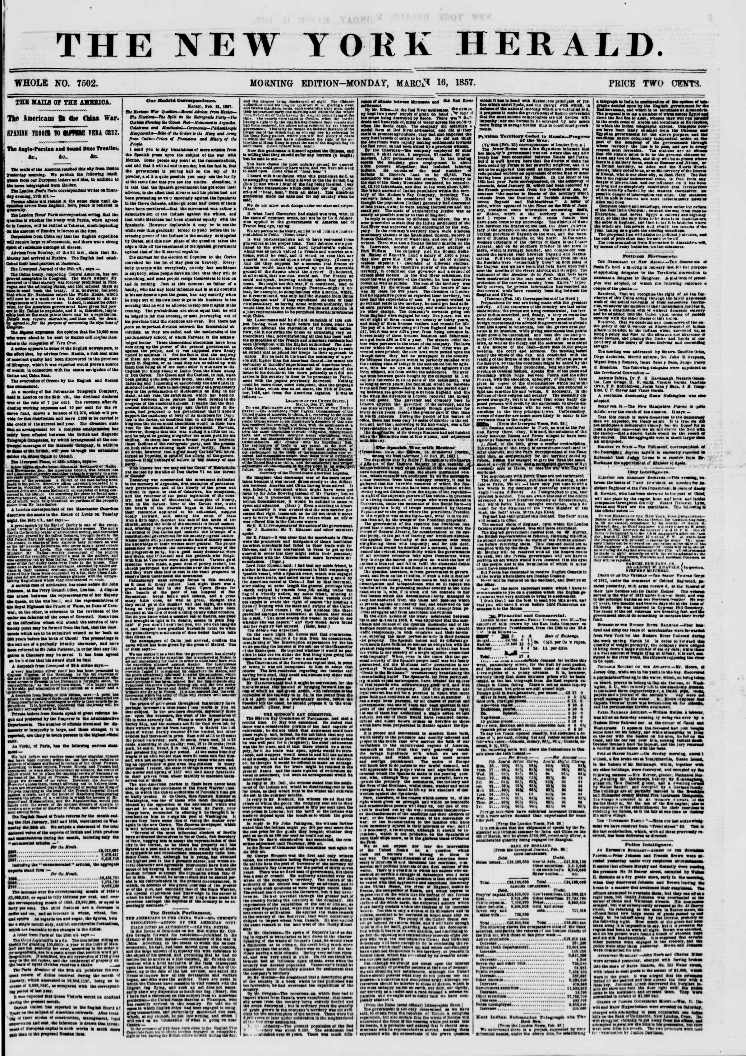 Newspaper of The New York Herald dated March 16, 1857 Page 1
