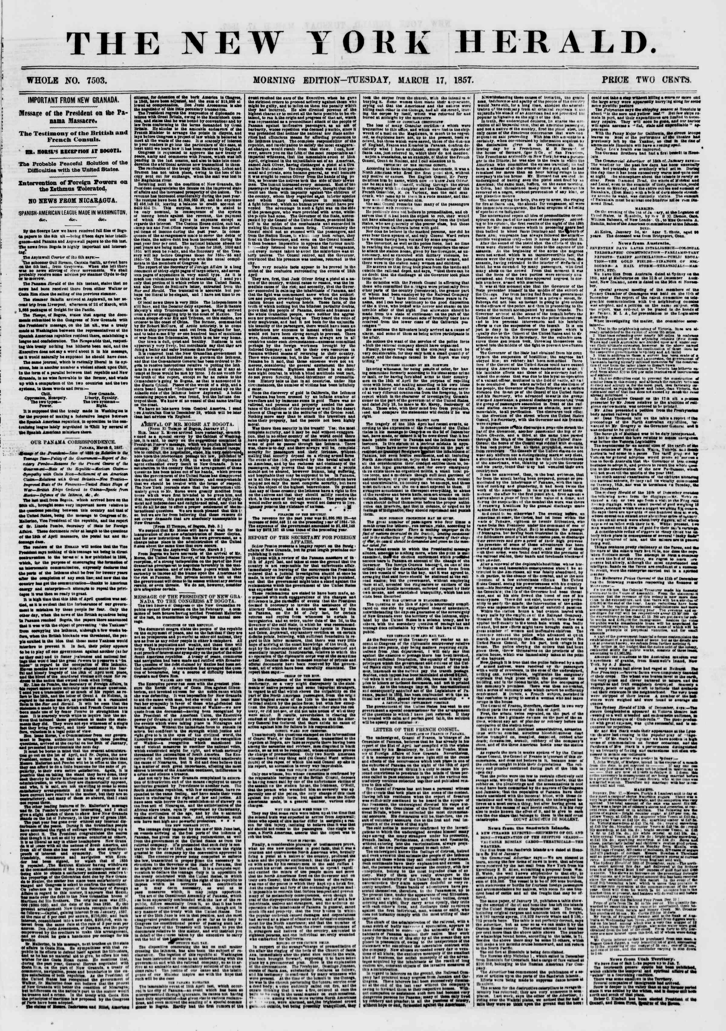 Newspaper of The New York Herald dated March 17, 1857 Page 1