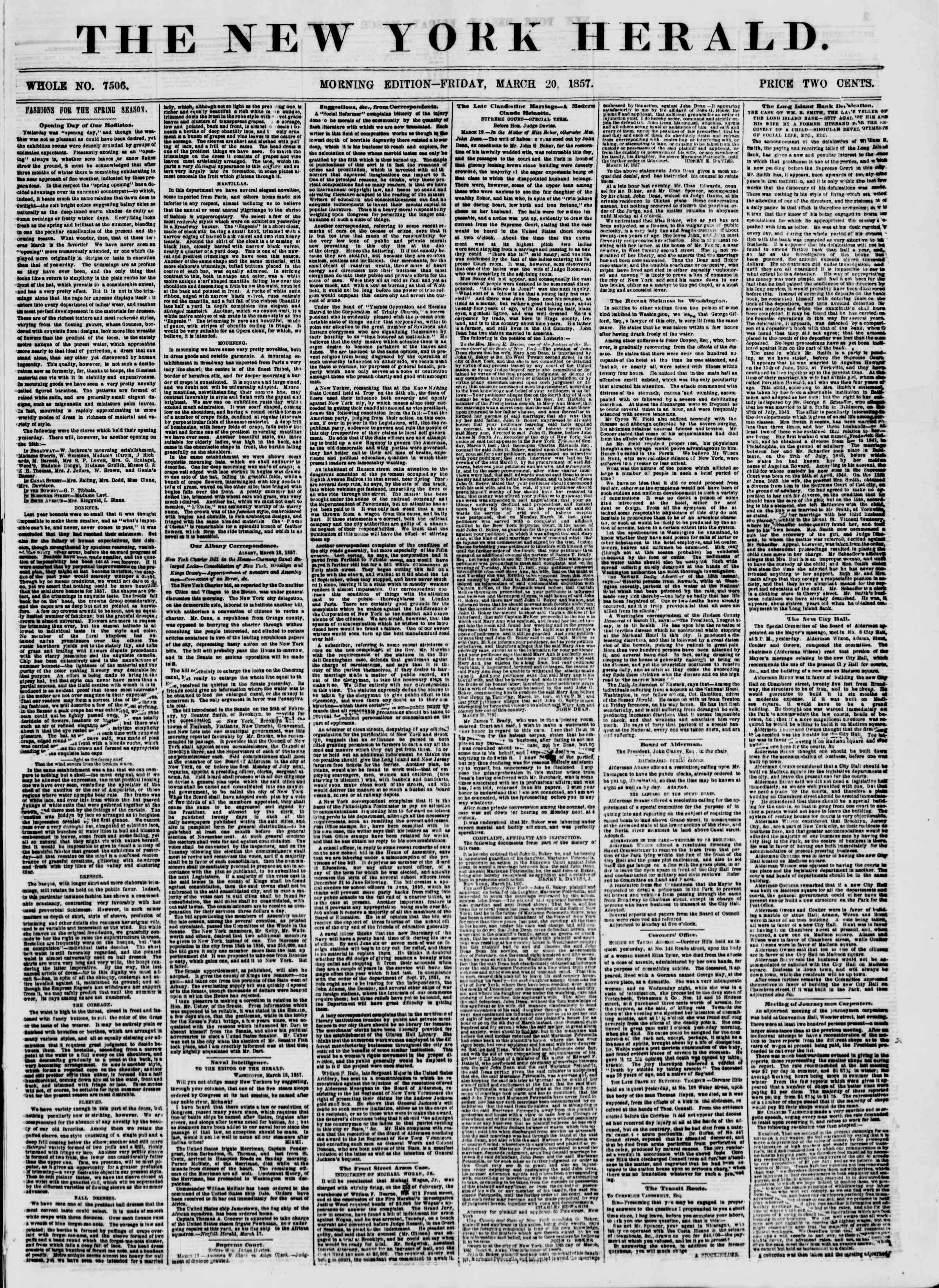 Newspaper of The New York Herald dated March 20, 1857 Page 1