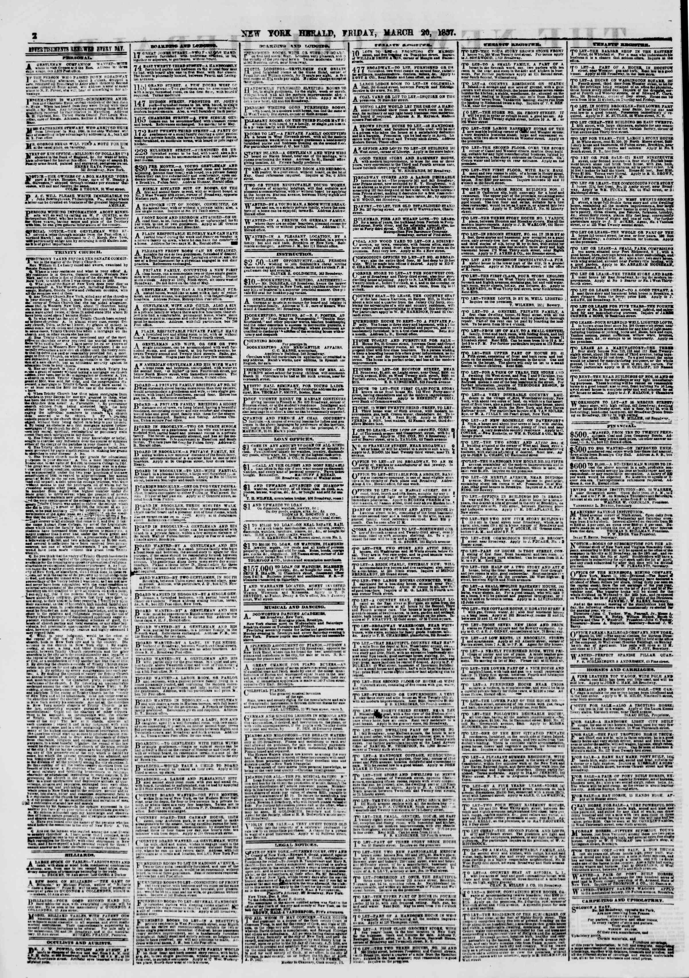 Newspaper of The New York Herald dated March 20, 1857 Page 2