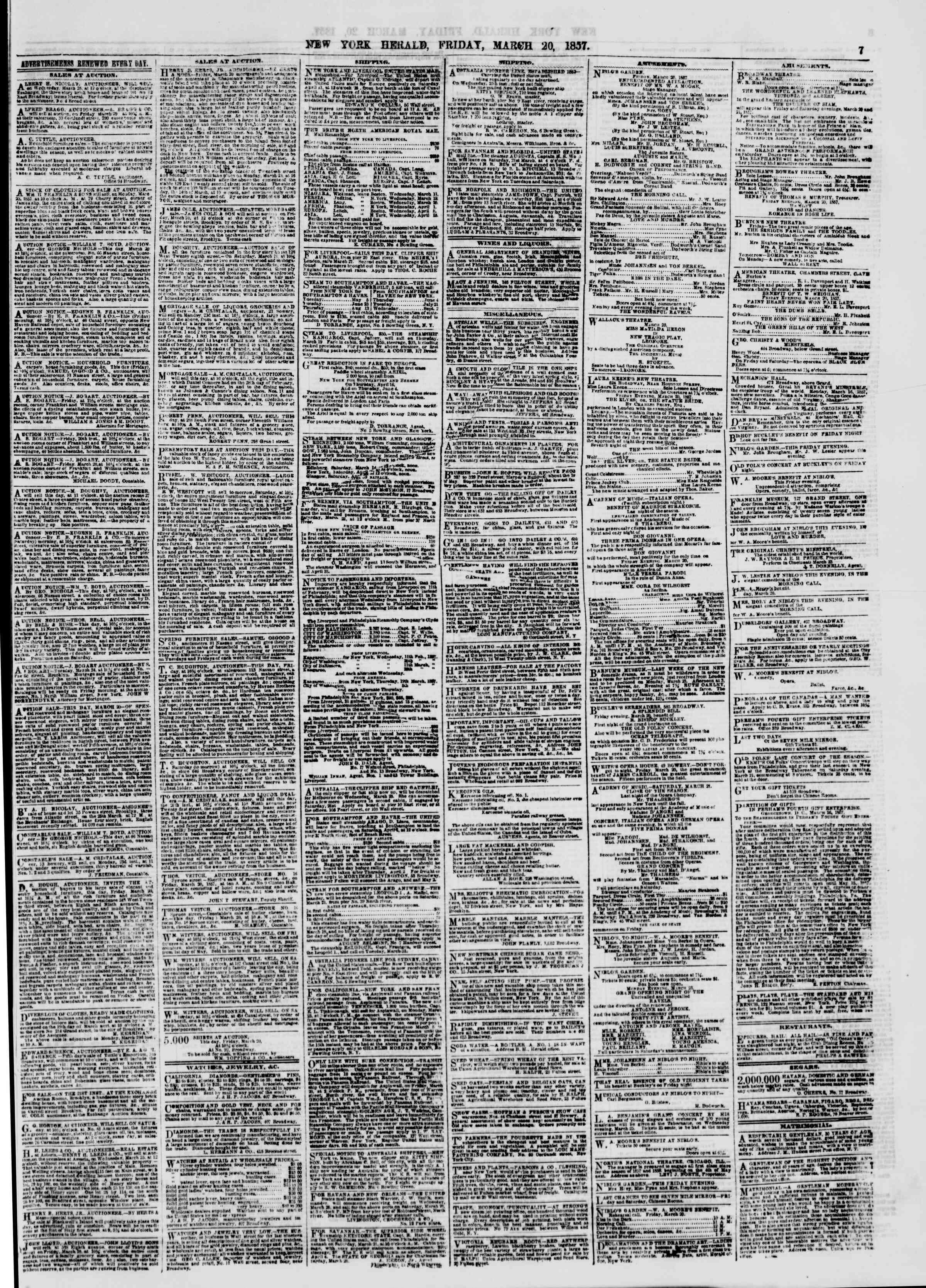 Newspaper of The New York Herald dated March 20, 1857 Page 7