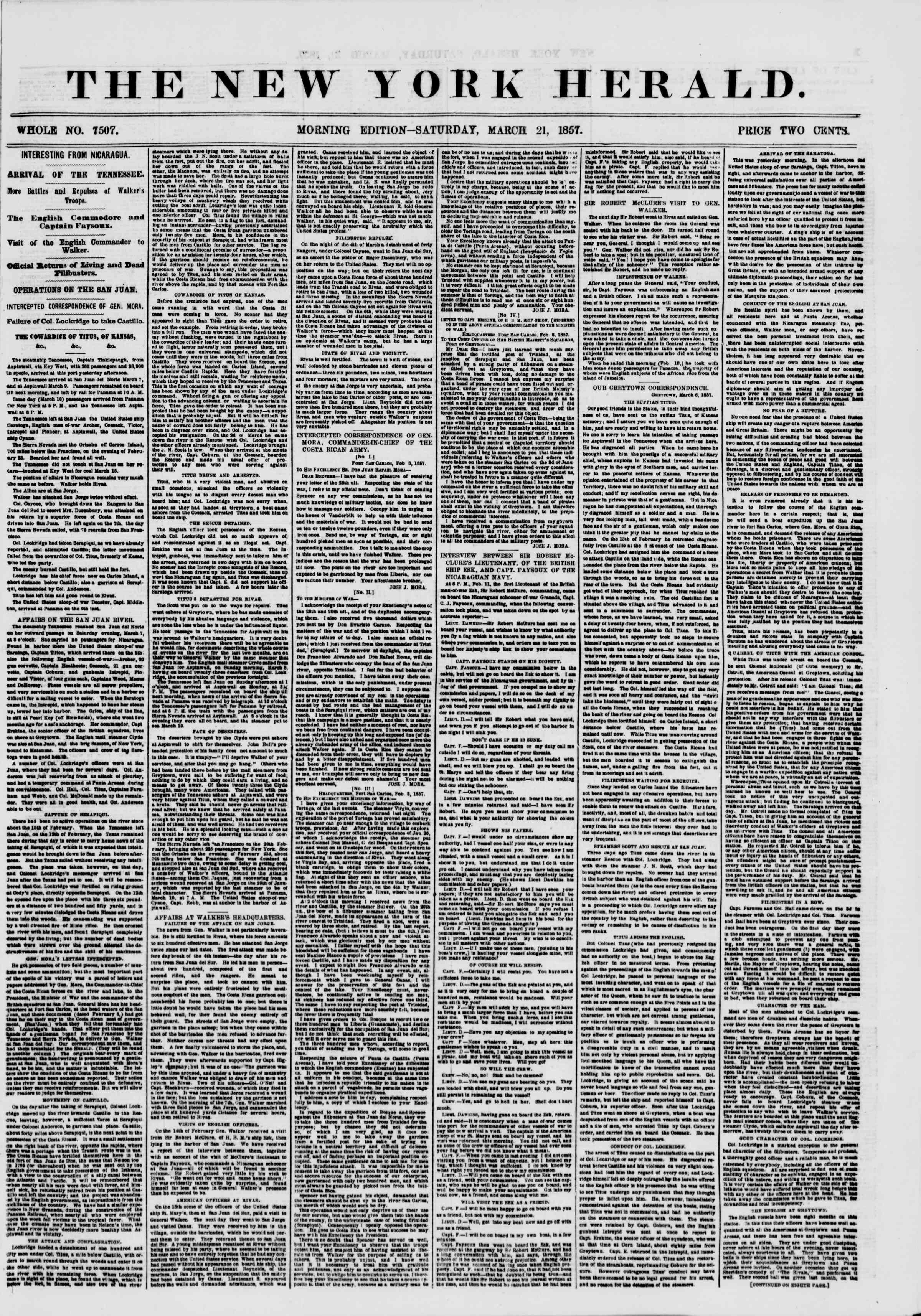 Newspaper of The New York Herald dated March 21, 1857 Page 1