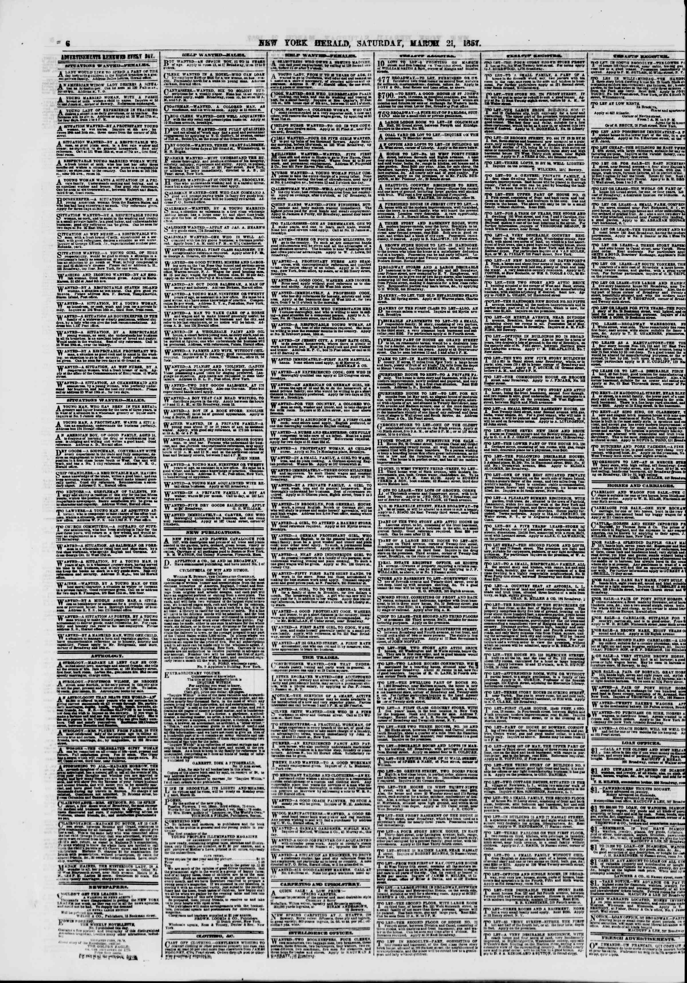 Newspaper of The New York Herald dated March 21, 1857 Page 6