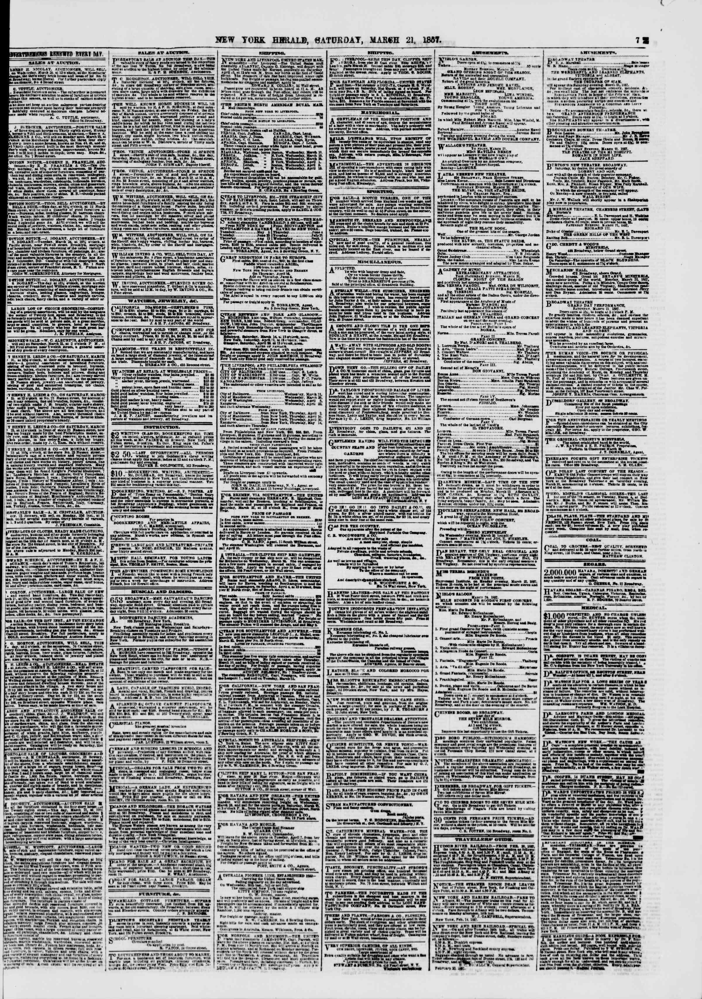 21 Mart 1857 tarihli The New York Herald Gazetesi Sayfa 7