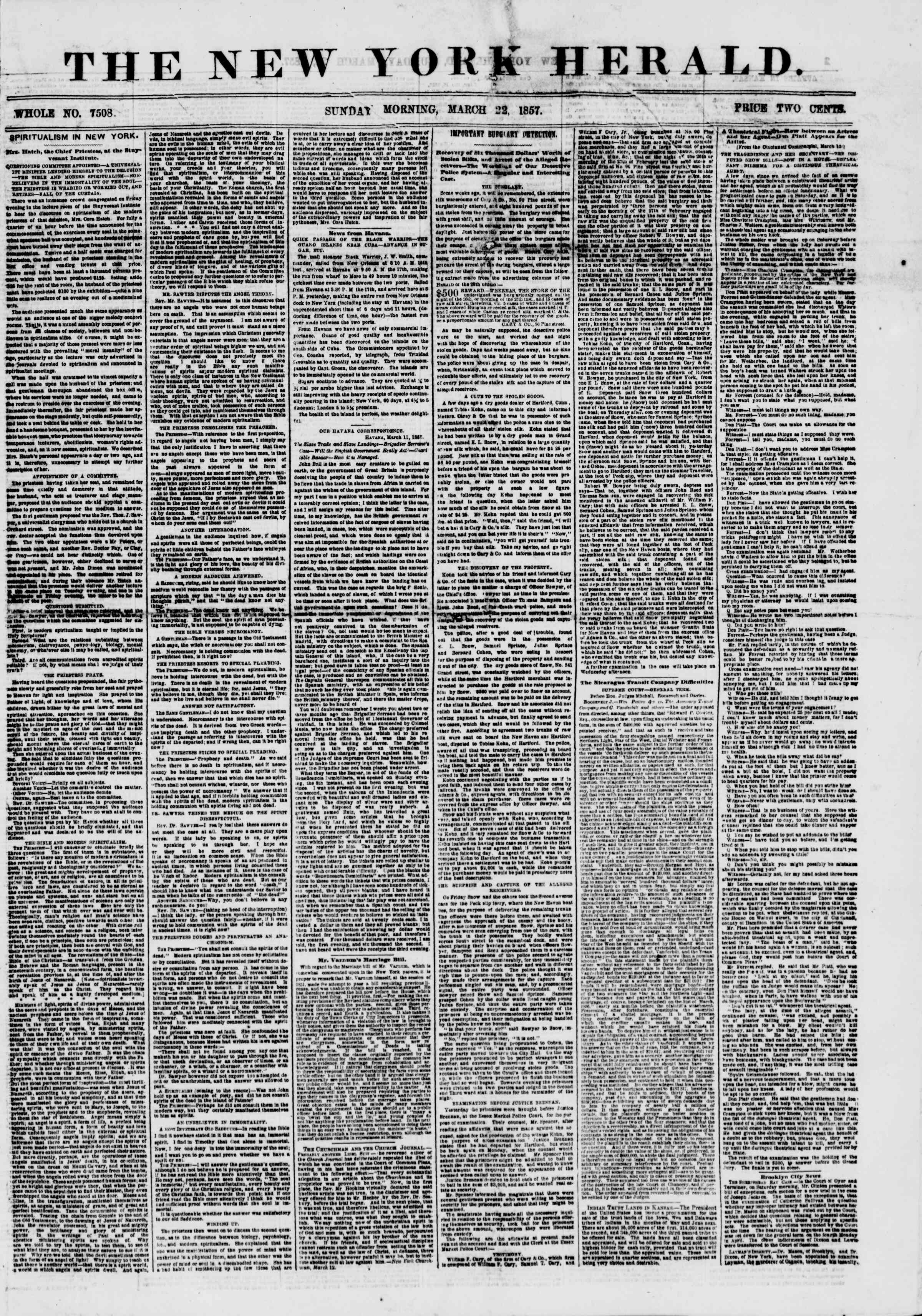 Newspaper of The New York Herald dated March 22, 1857 Page 1