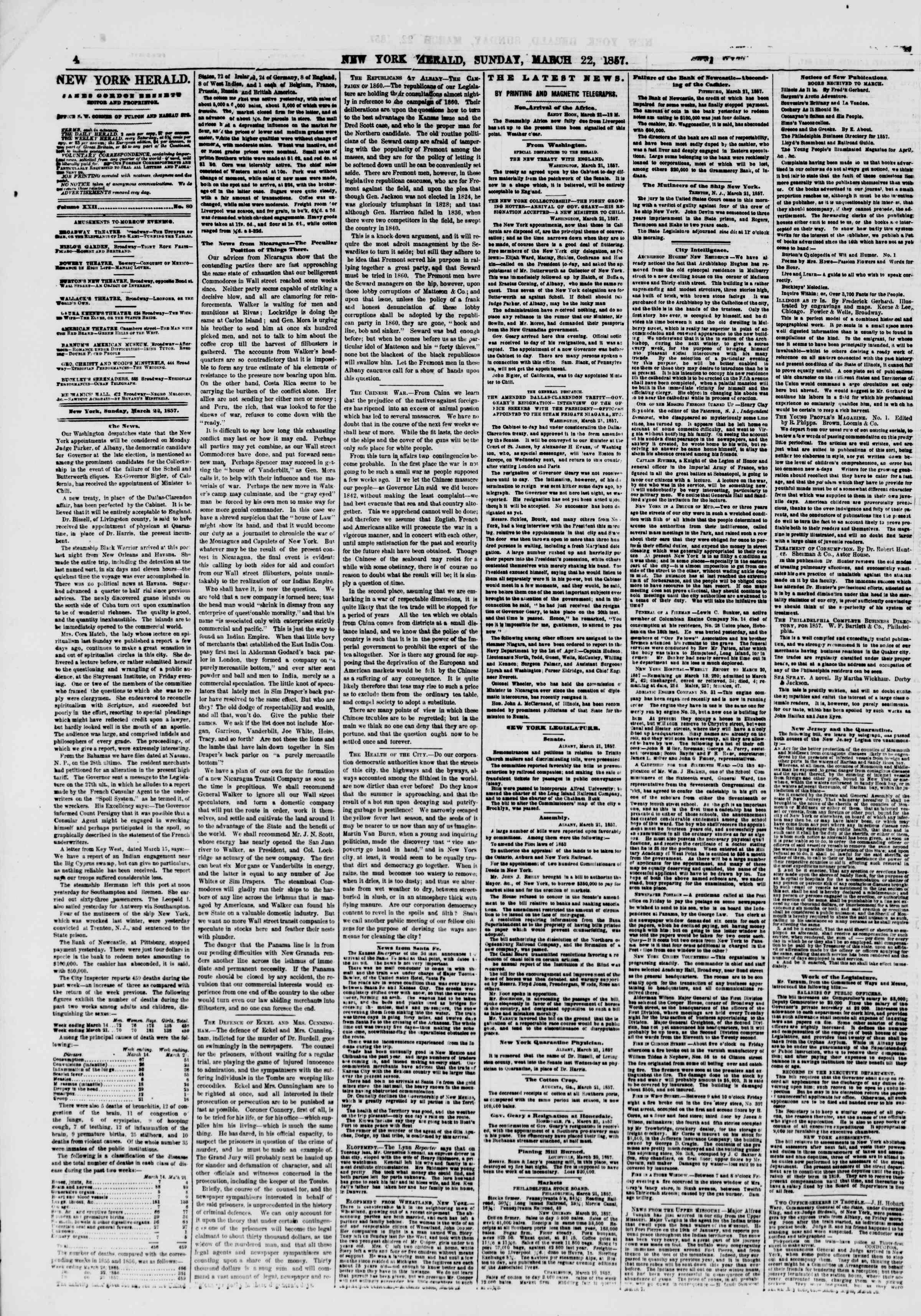 Newspaper of The New York Herald dated March 22, 1857 Page 4