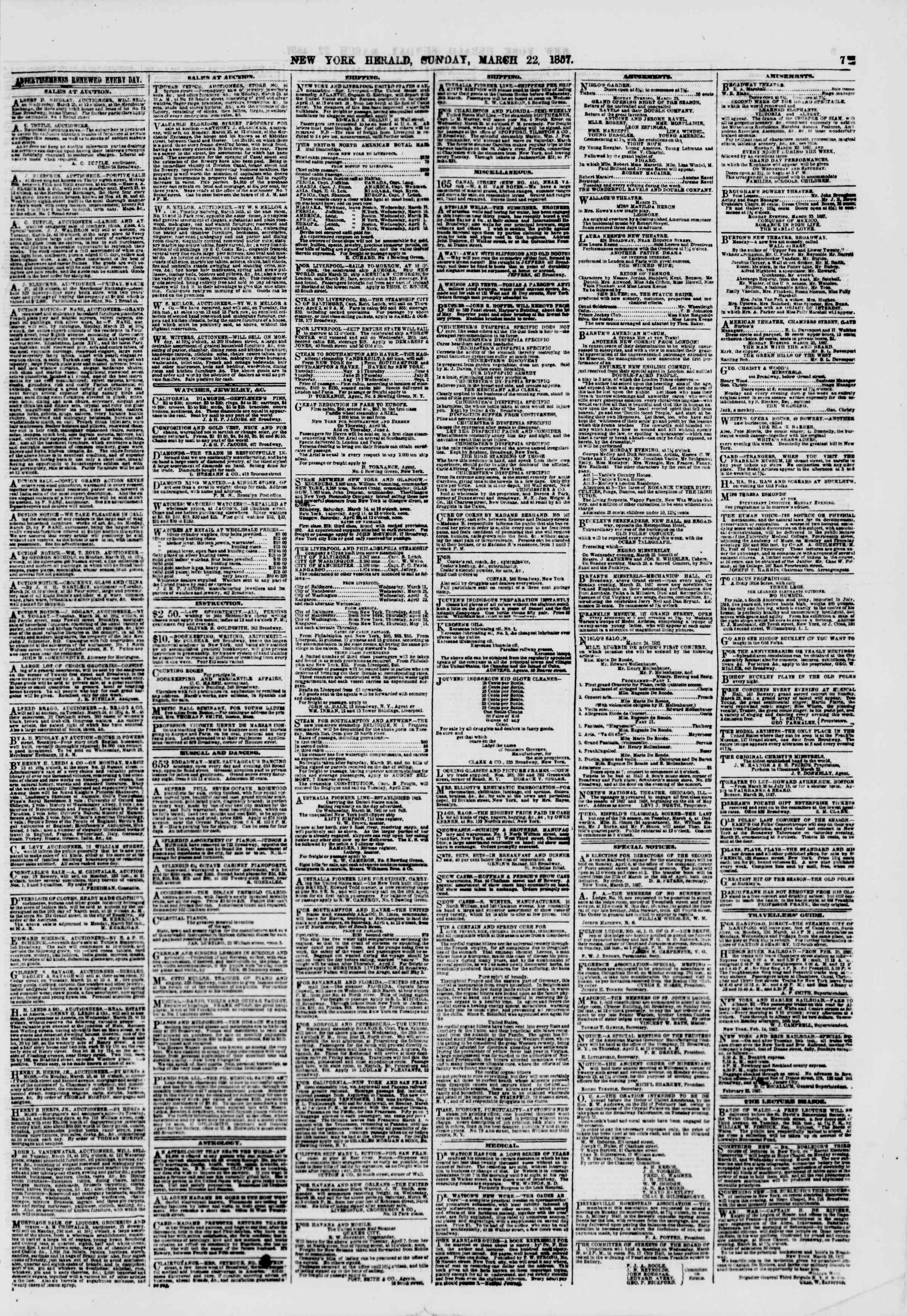 Newspaper of The New York Herald dated March 22, 1857 Page 7