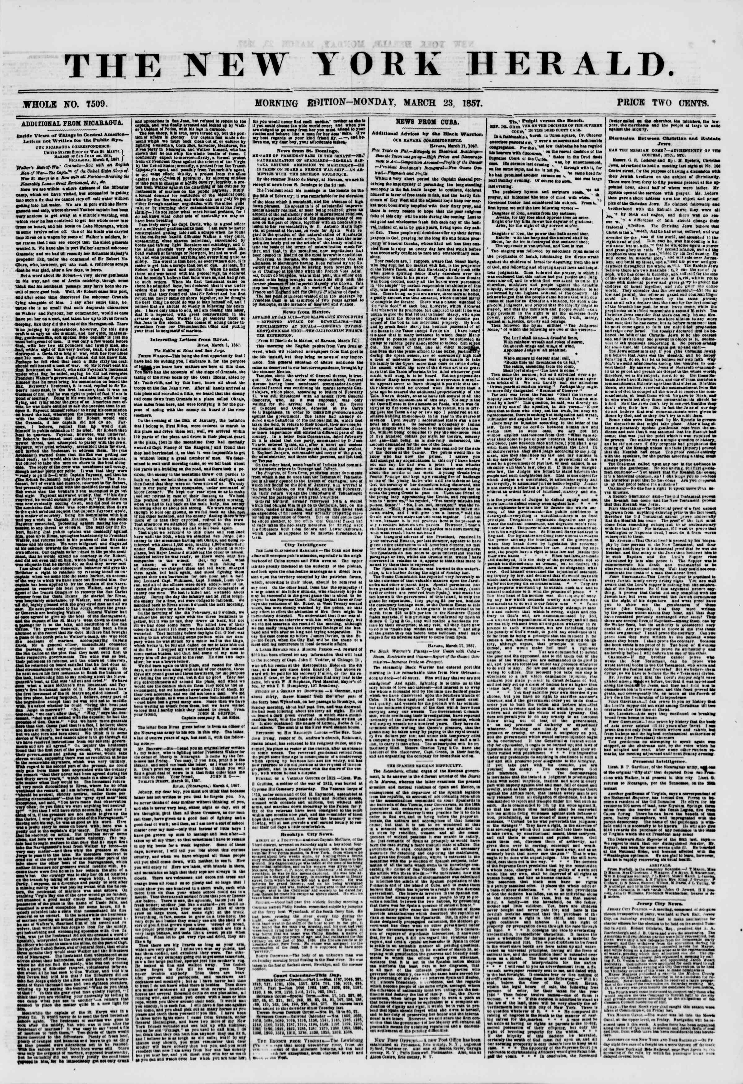 Newspaper of The New York Herald dated March 23, 1857 Page 1