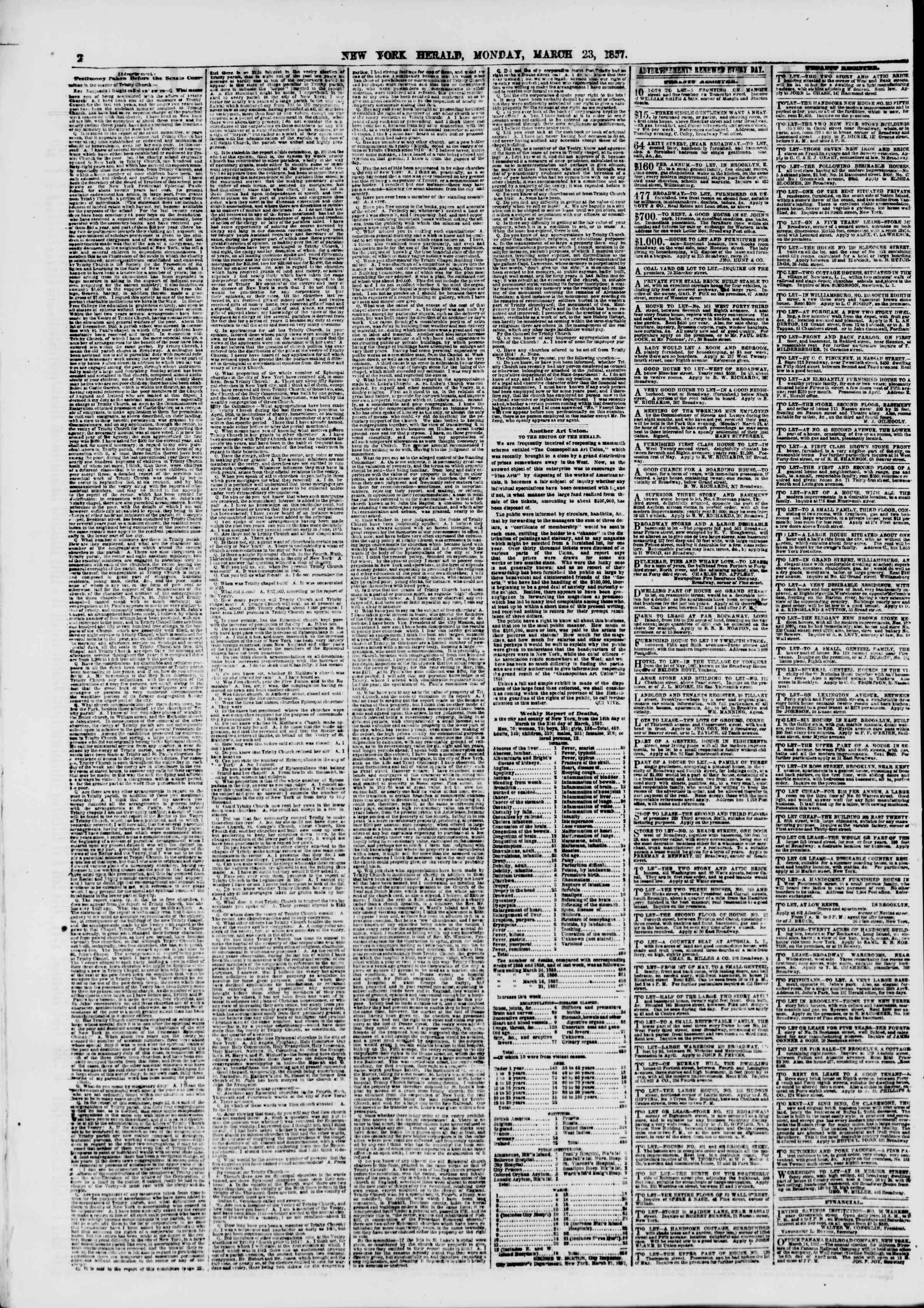 Newspaper of The New York Herald dated March 23, 1857 Page 2