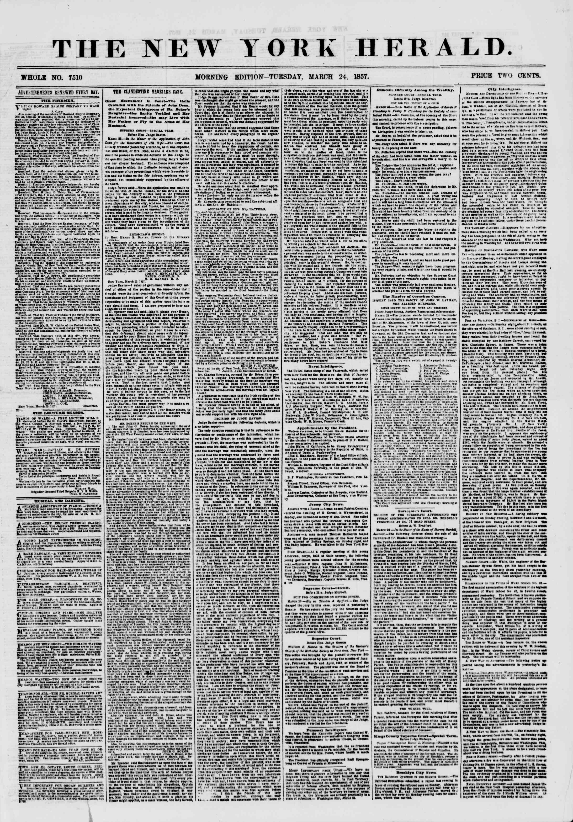 Newspaper of The New York Herald dated March 24, 1857 Page 1