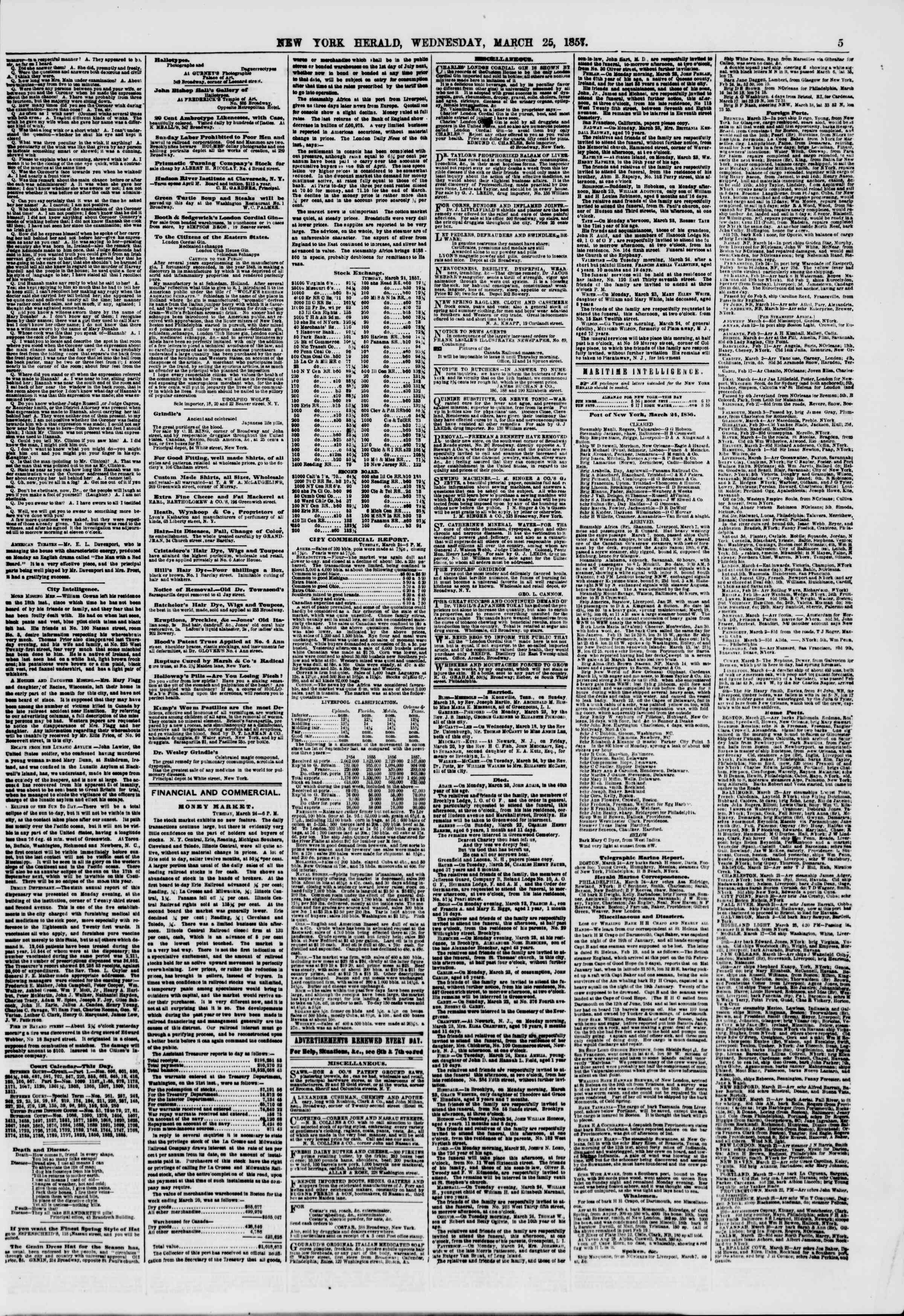 Newspaper of The New York Herald dated March 25, 1857 Page 5
