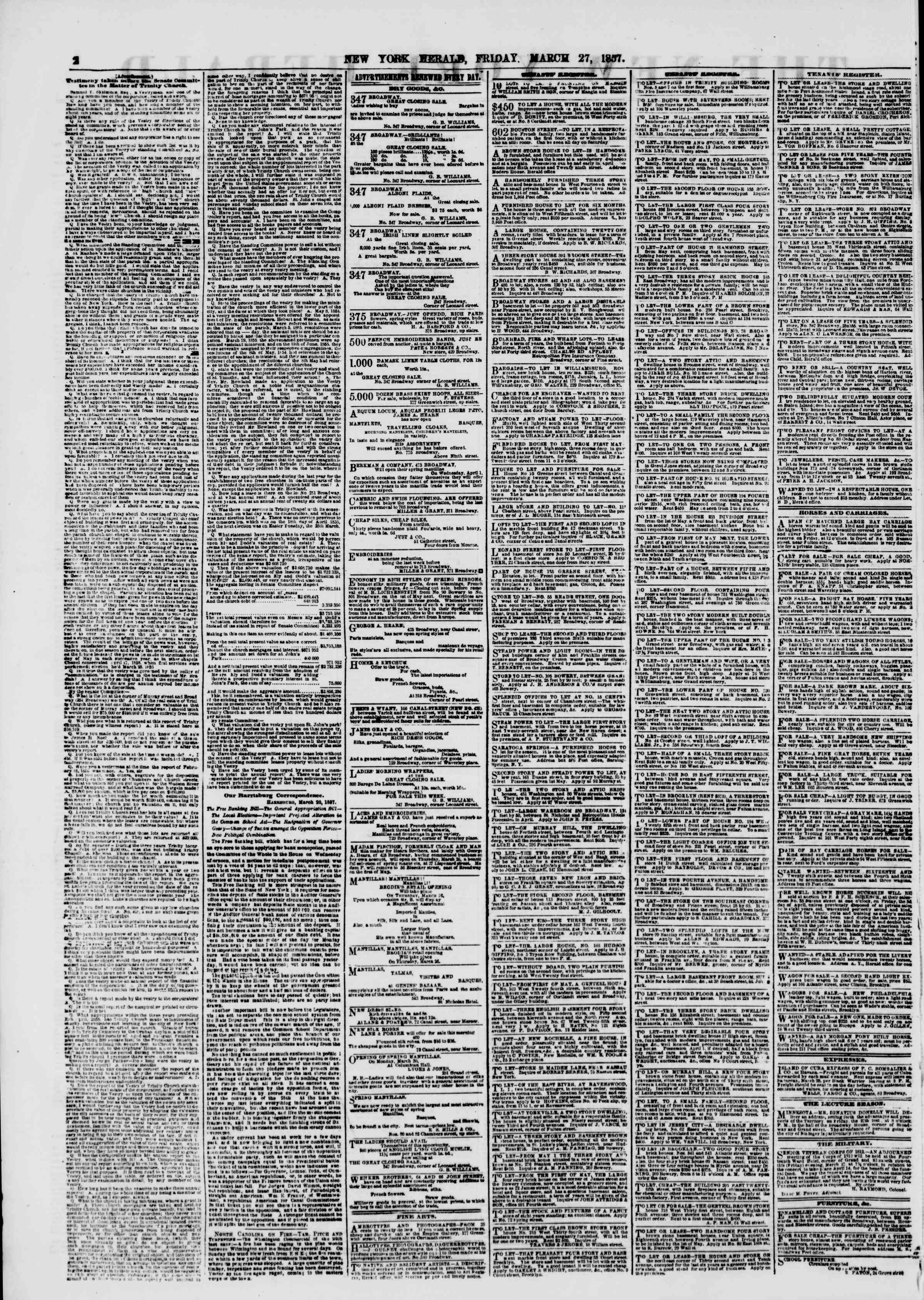 Newspaper of The New York Herald dated March 27, 1857 Page 2