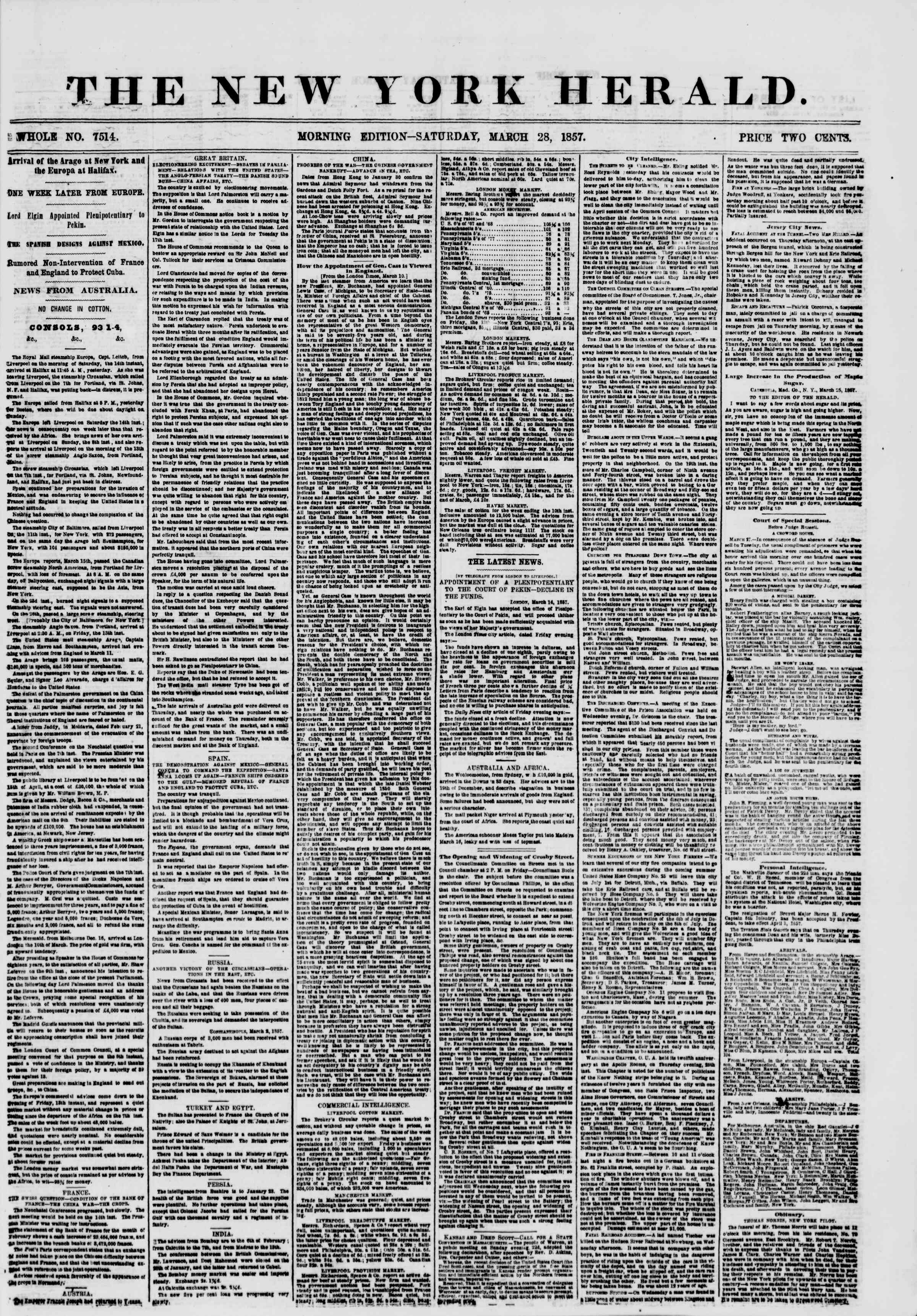 Newspaper of The New York Herald dated March 28, 1857 Page 1
