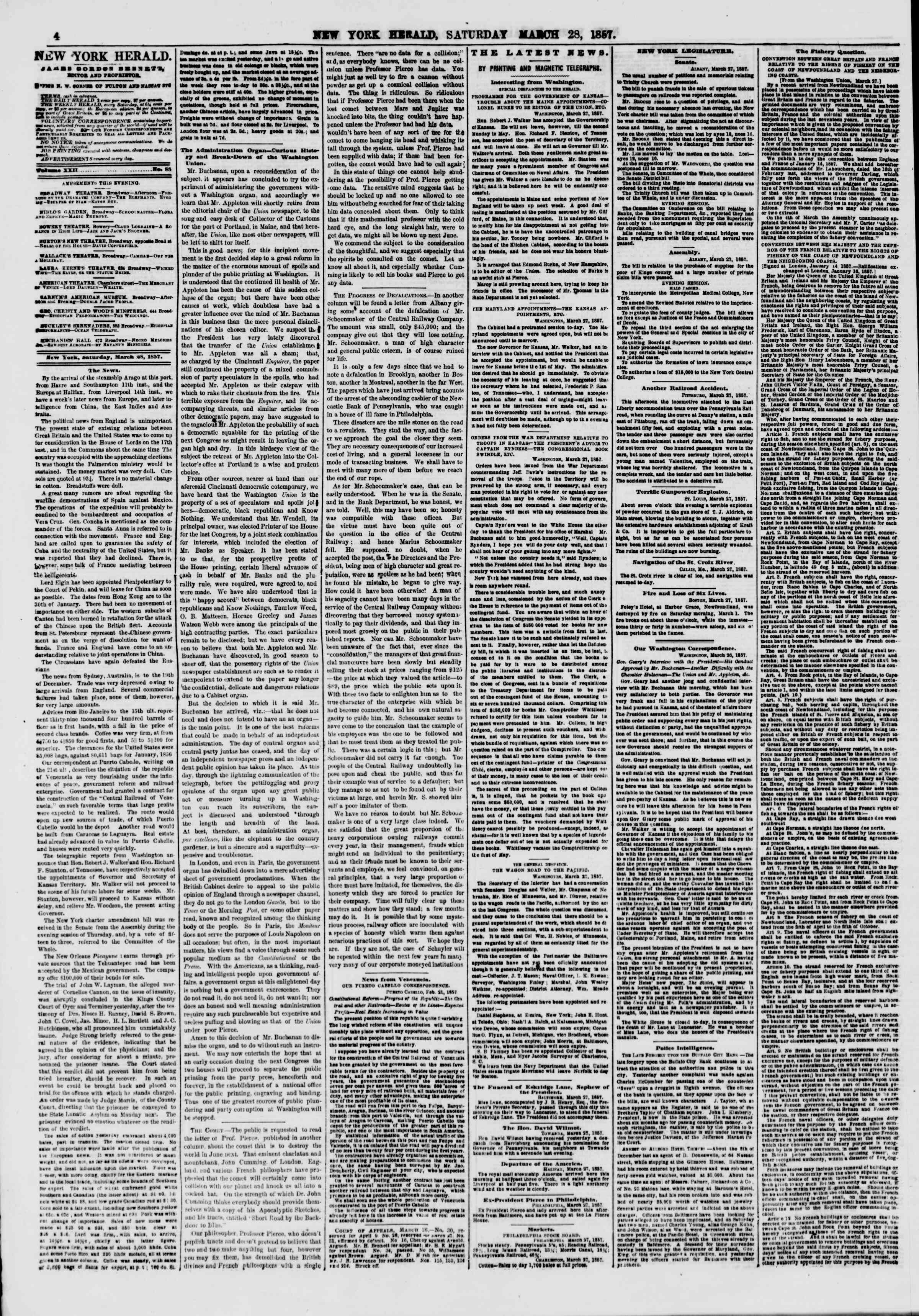 Newspaper of The New York Herald dated March 28, 1857 Page 4