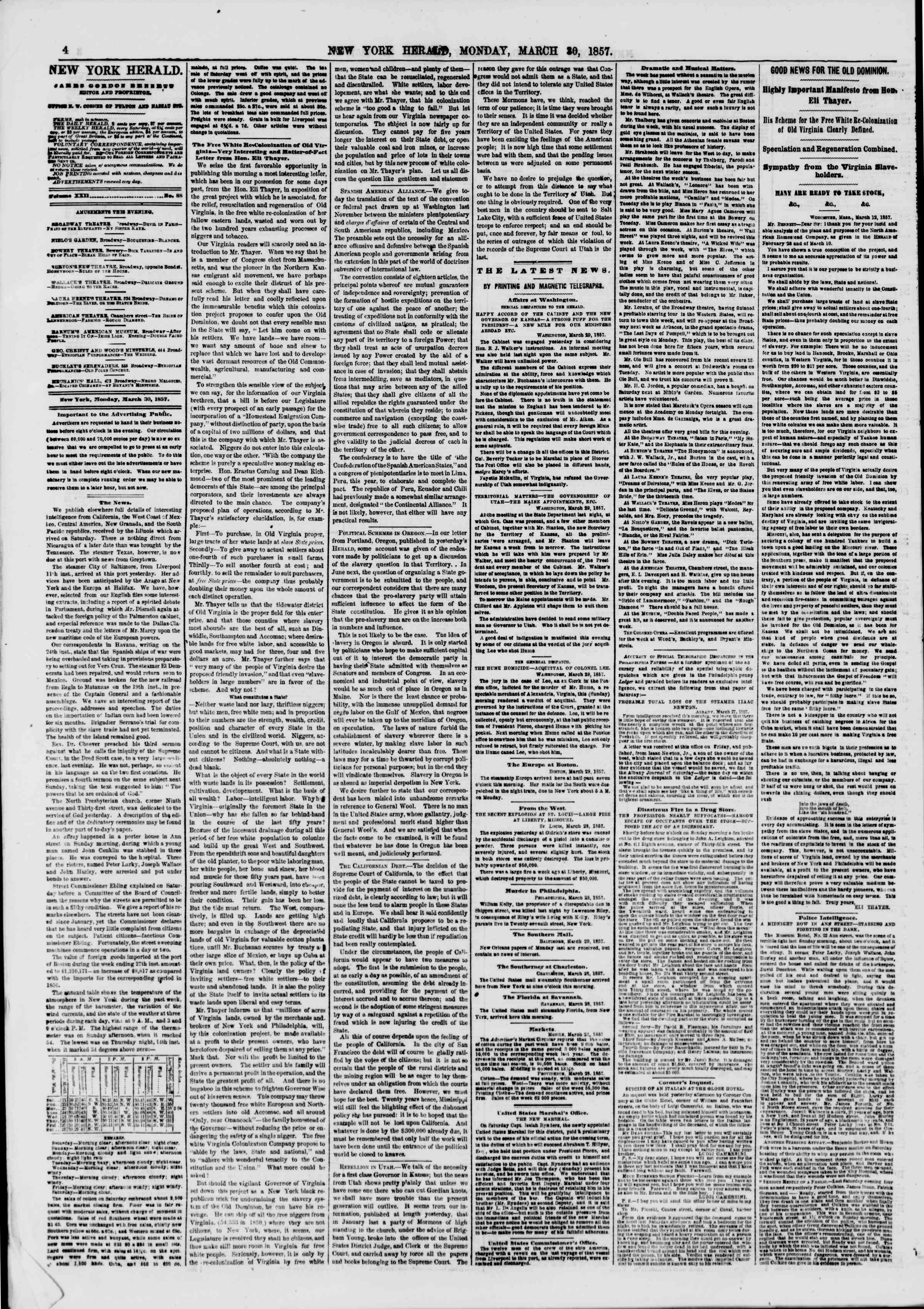 Newspaper of The New York Herald dated March 30, 1857 Page 4