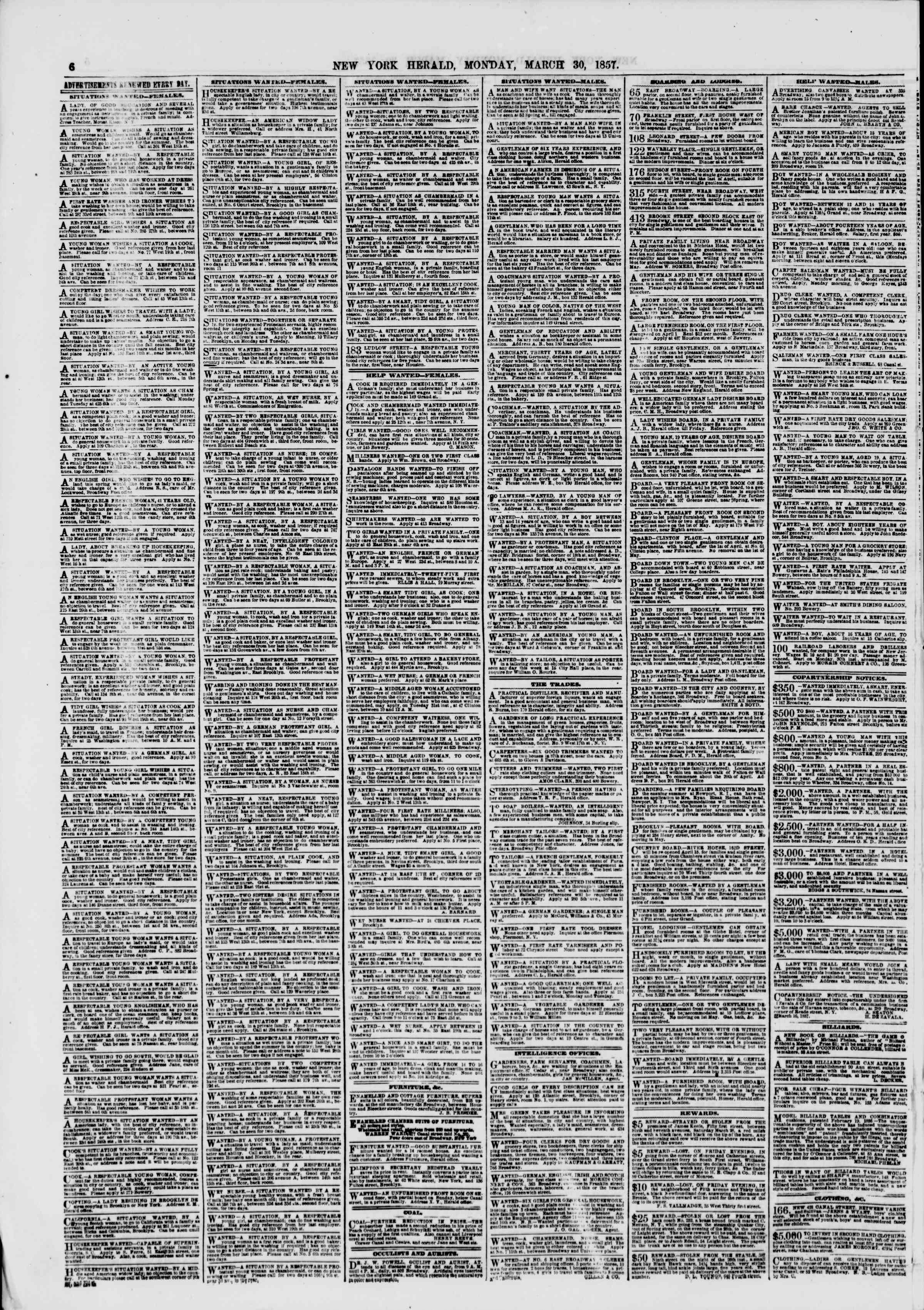 Newspaper of The New York Herald dated March 30, 1857 Page 6