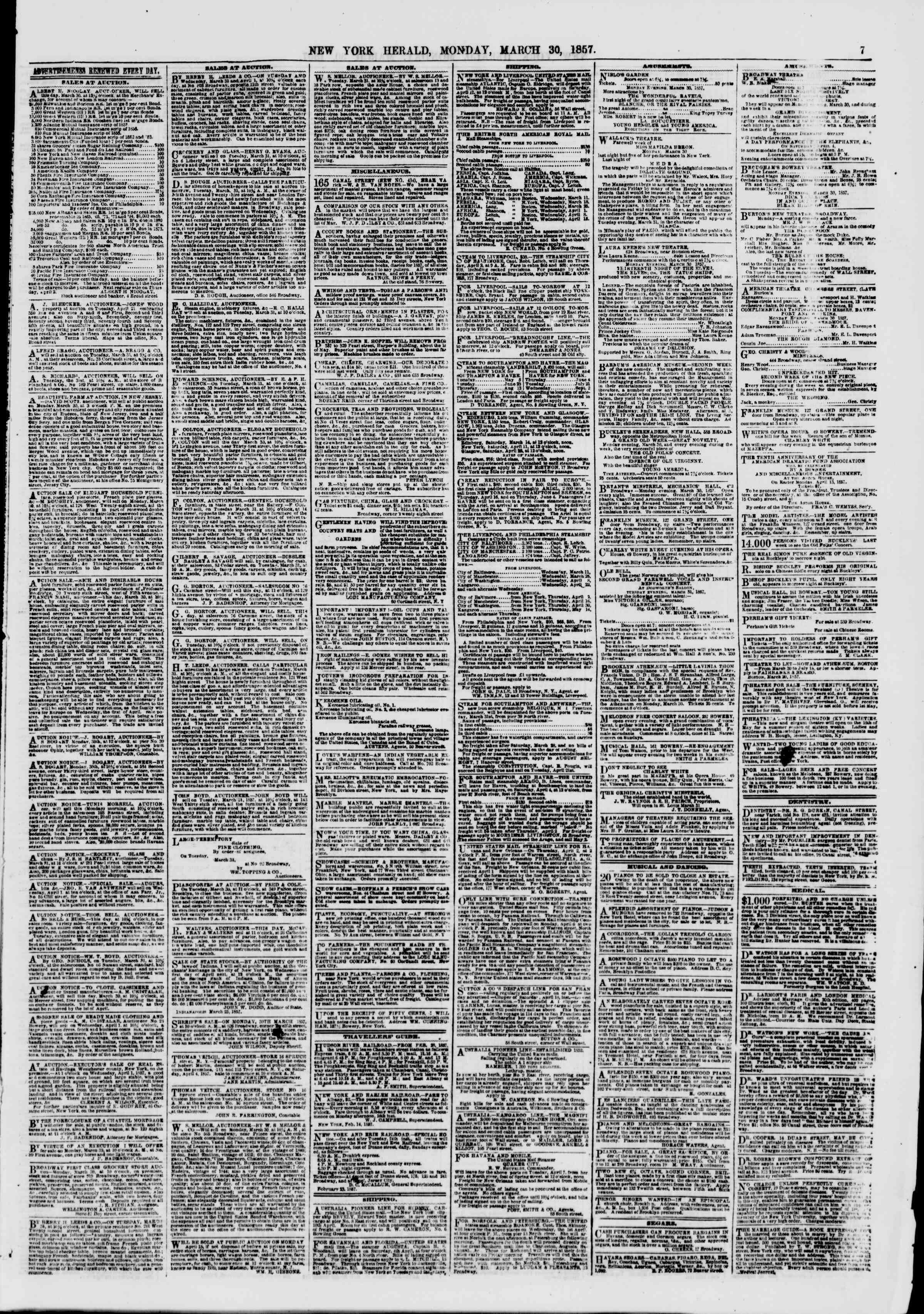 Newspaper of The New York Herald dated March 30, 1857 Page 7