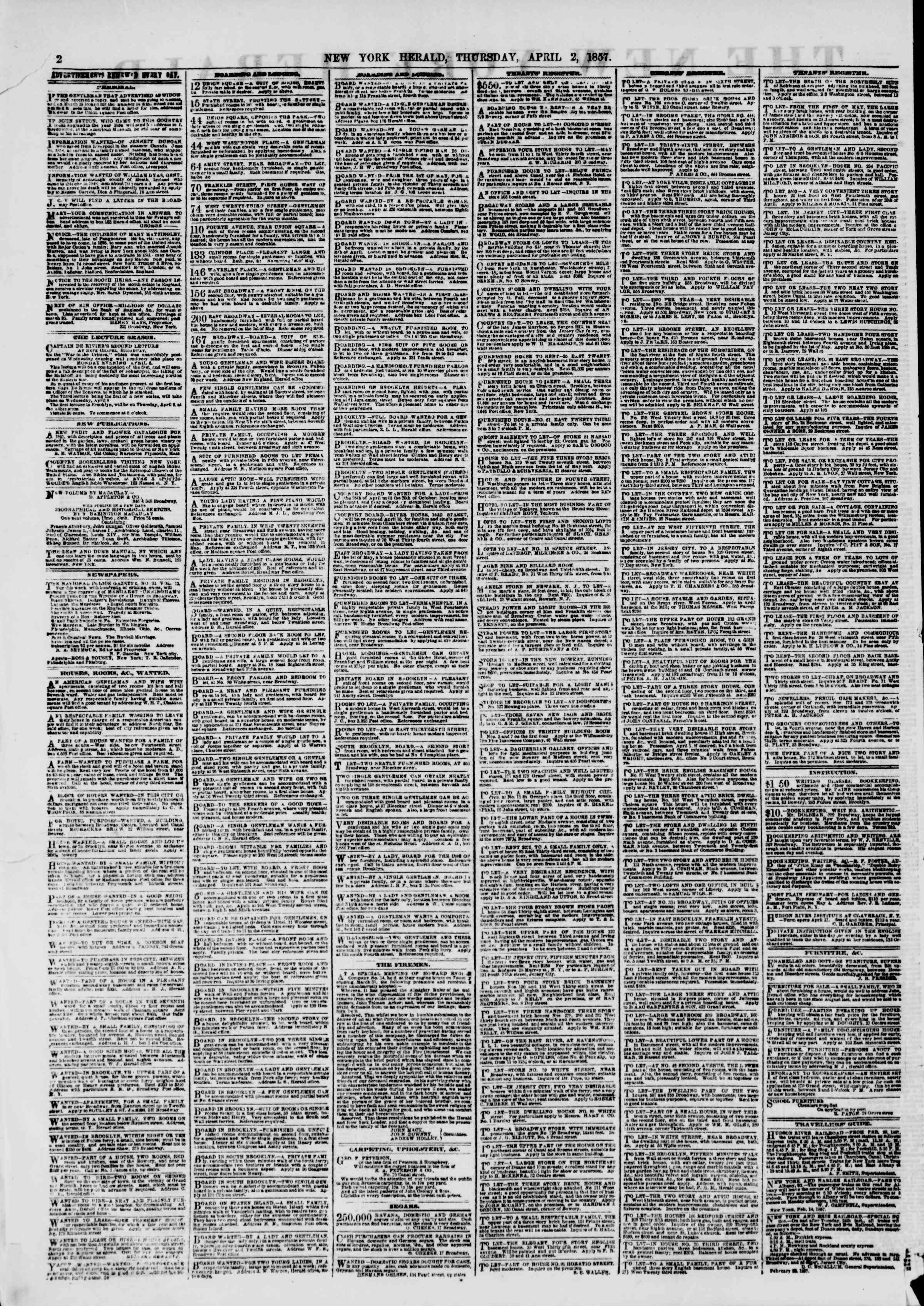 Newspaper of The New York Herald dated April 2, 1857 Page 2