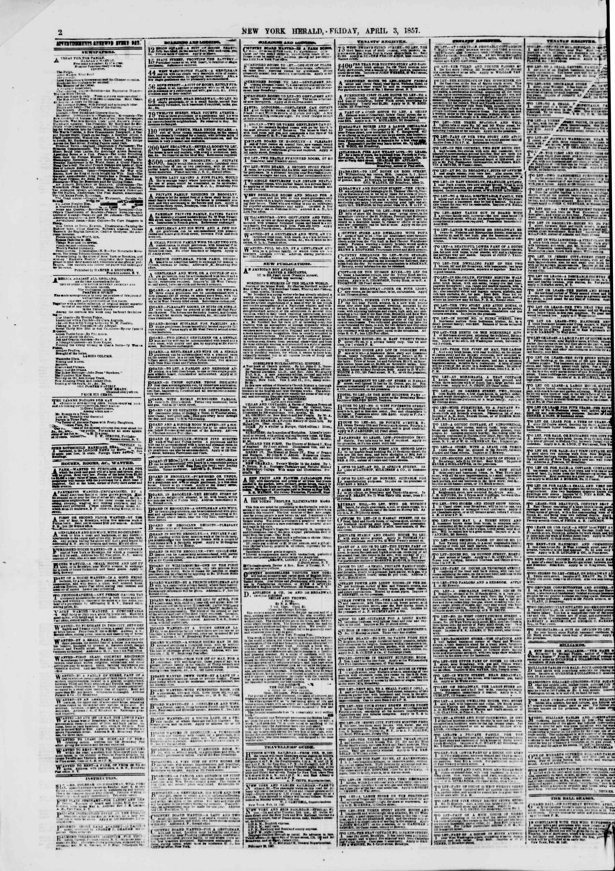 Newspaper of The New York Herald dated April 3, 1857 Page 2