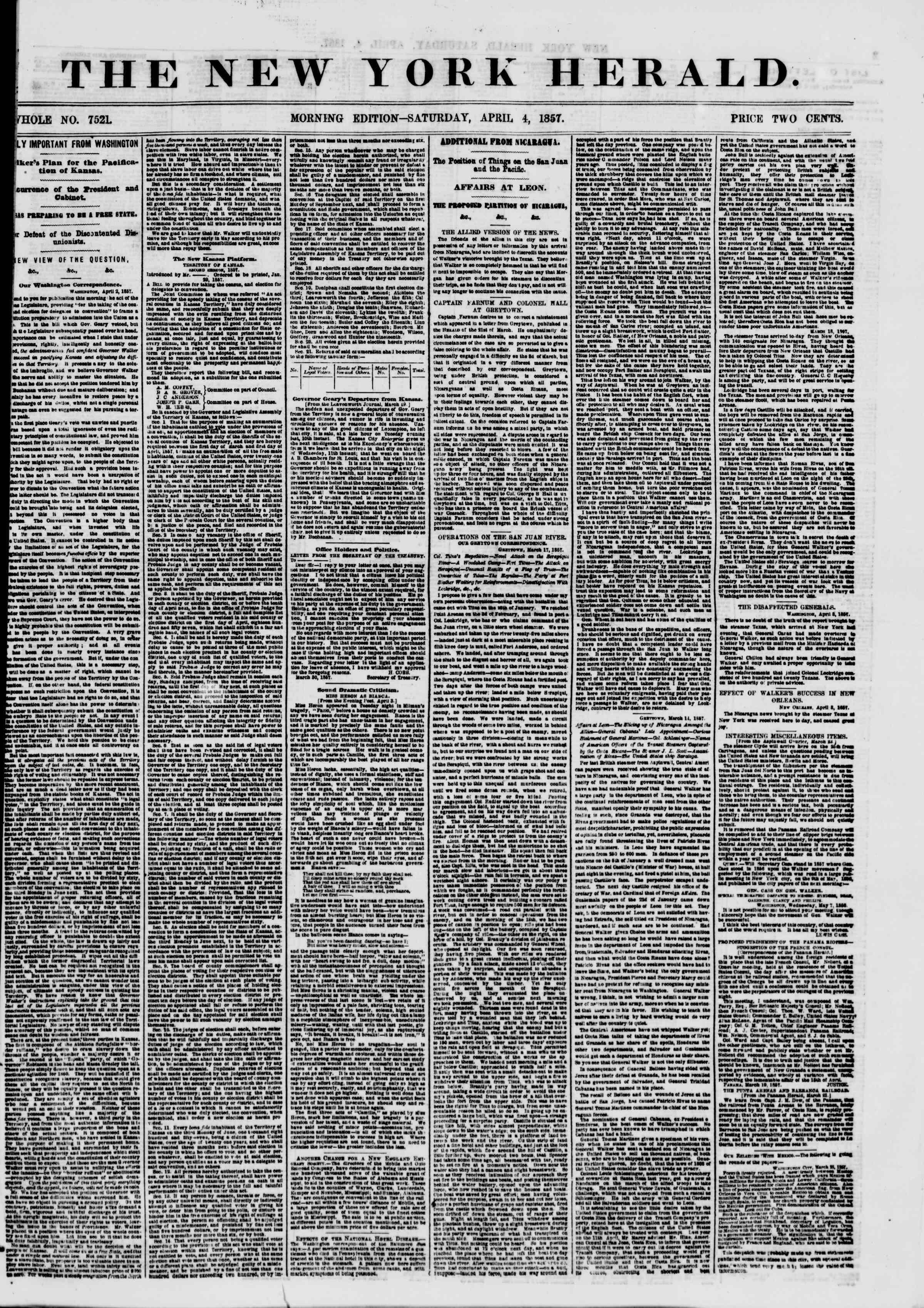 Newspaper of The New York Herald dated April 4, 1857 Page 1