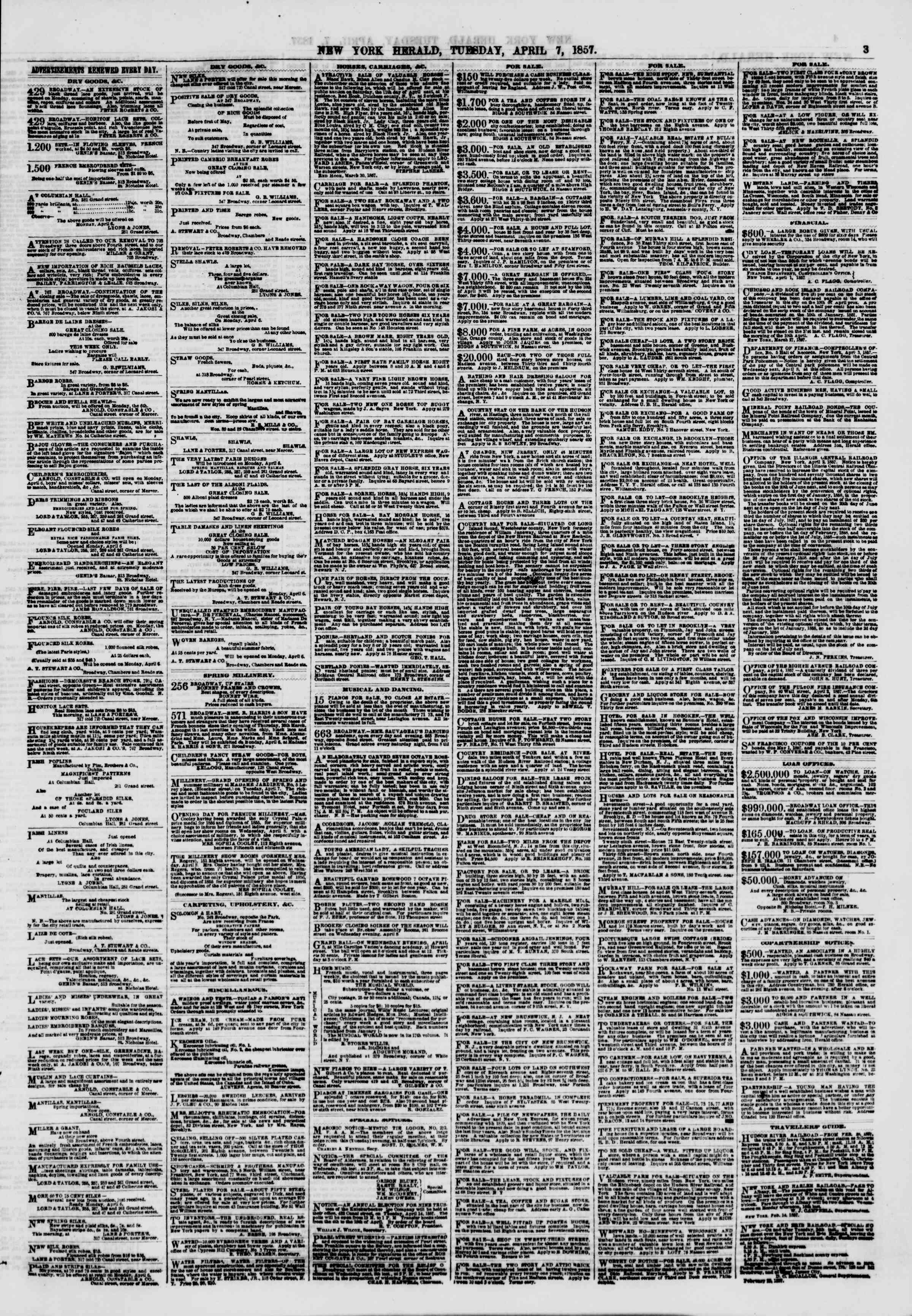 Newspaper of The New York Herald dated April 7, 1857 Page 3