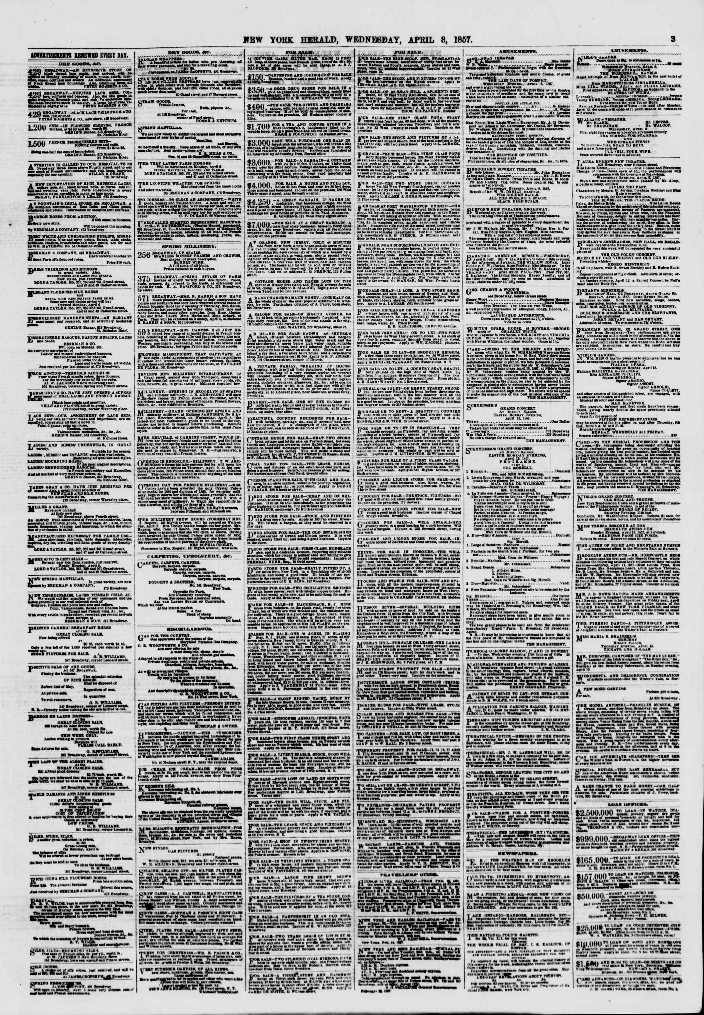 Newspaper of The New York Herald dated April 8, 1857 Page 11