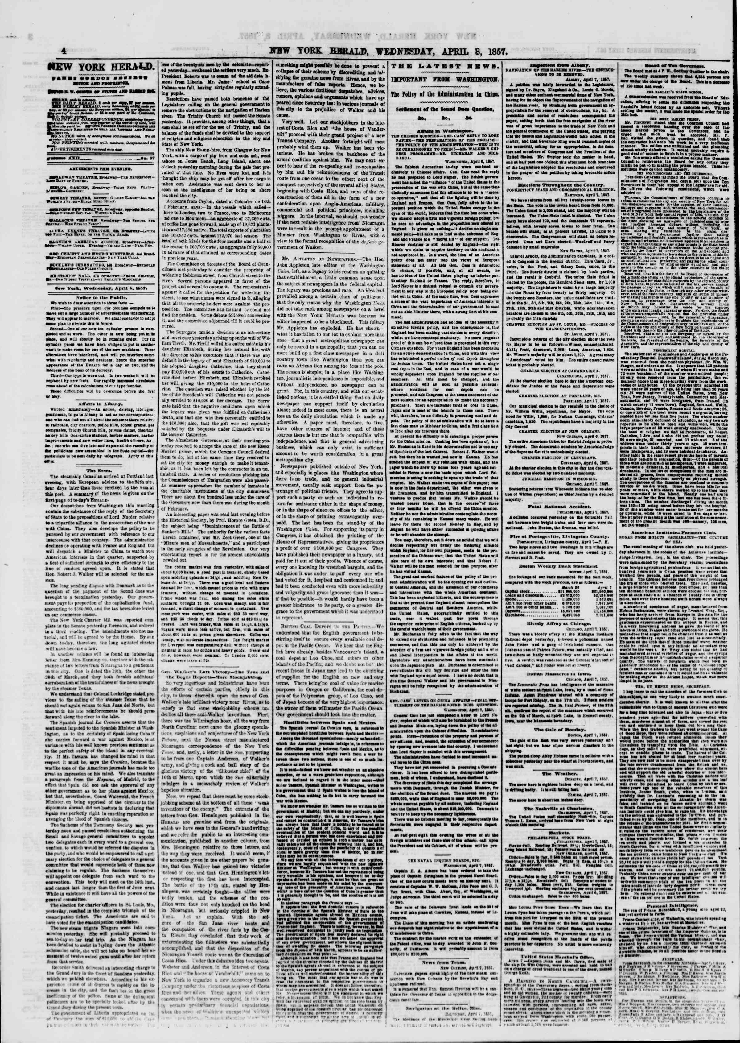 Newspaper of The New York Herald dated April 8, 1857 Page 12