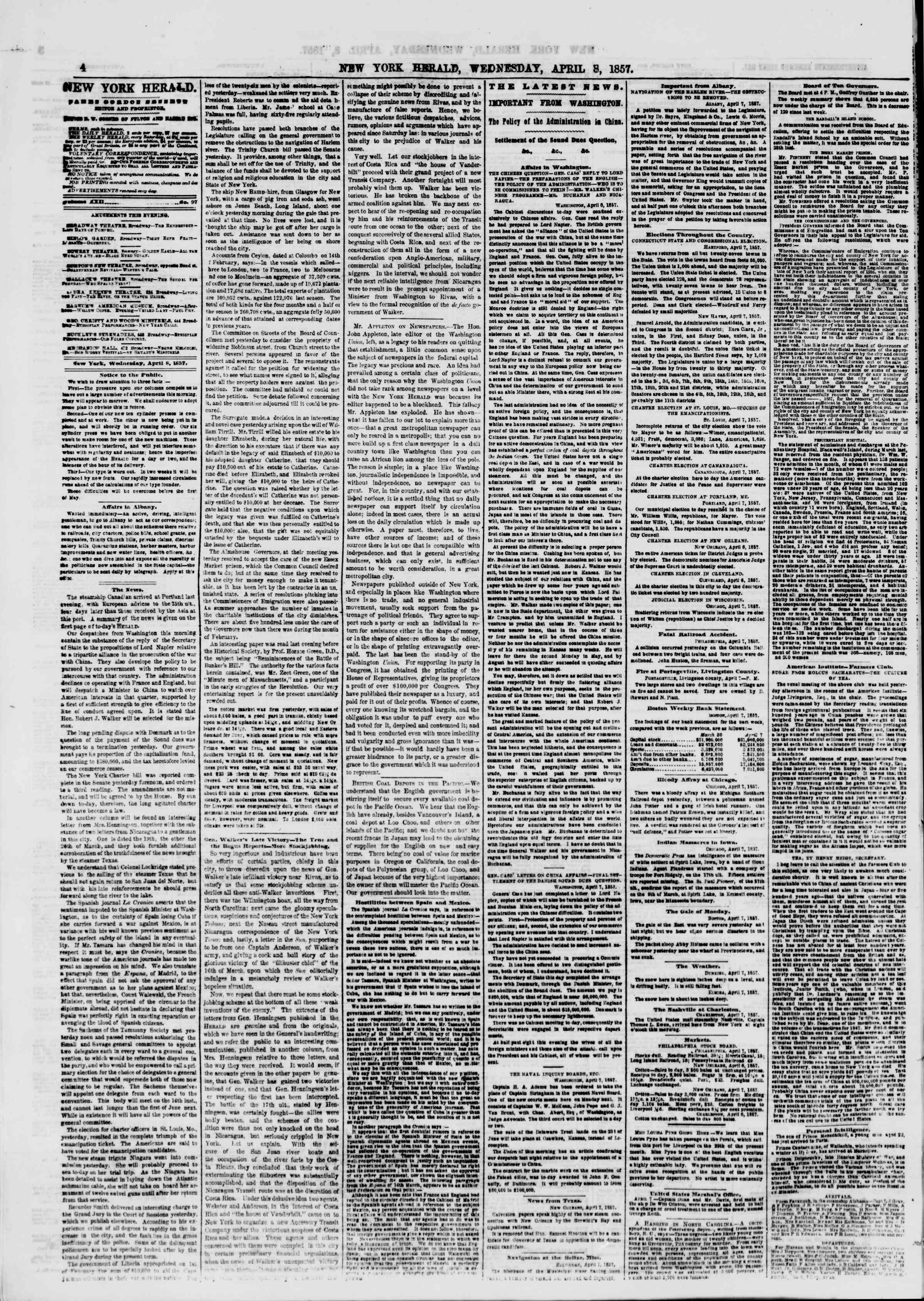 Newspaper of The New York Herald dated April 8, 1857 Page 4