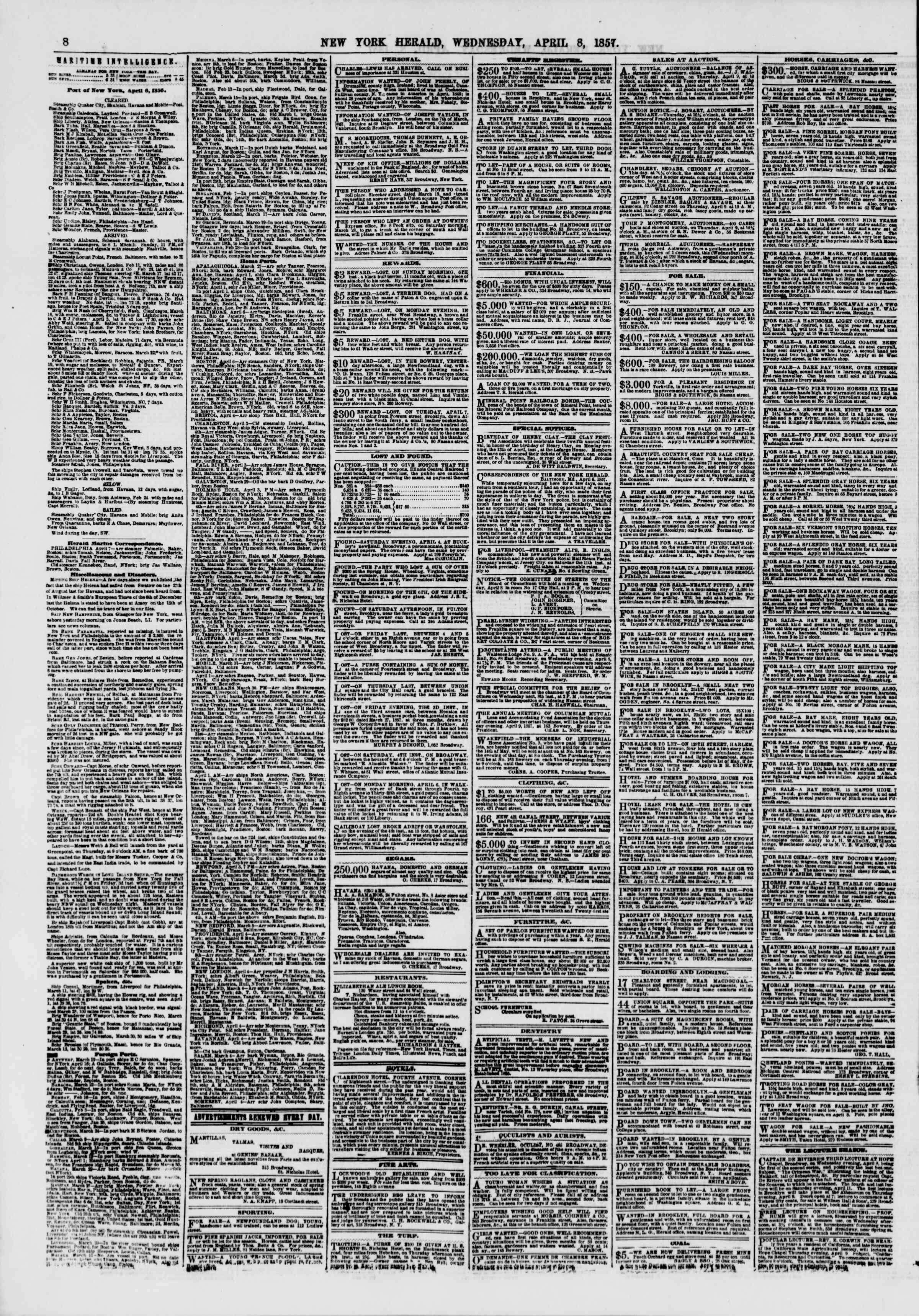 Newspaper of The New York Herald dated April 8, 1857 Page 8