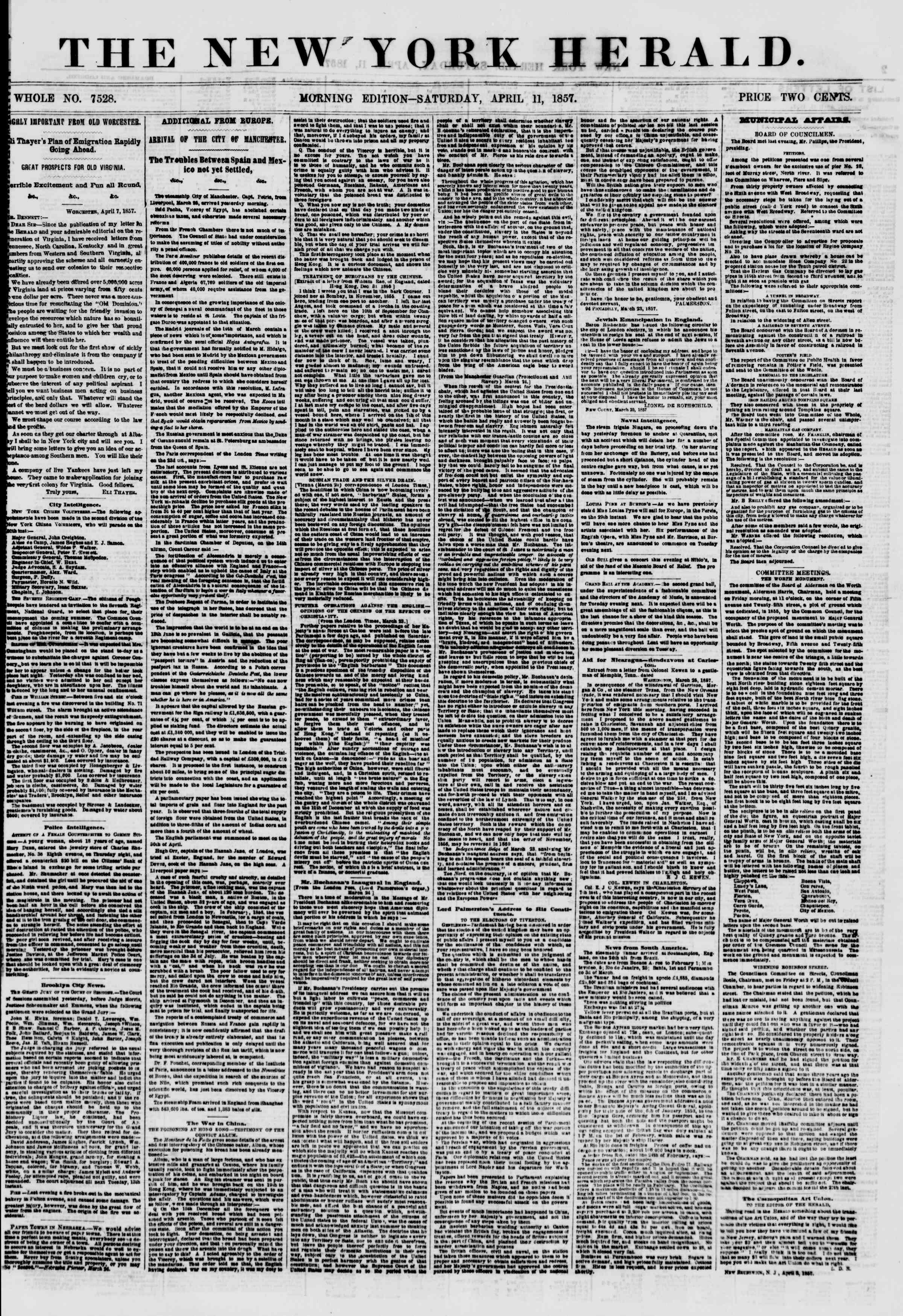 Newspaper of The New York Herald dated April 11, 1857 Page 1