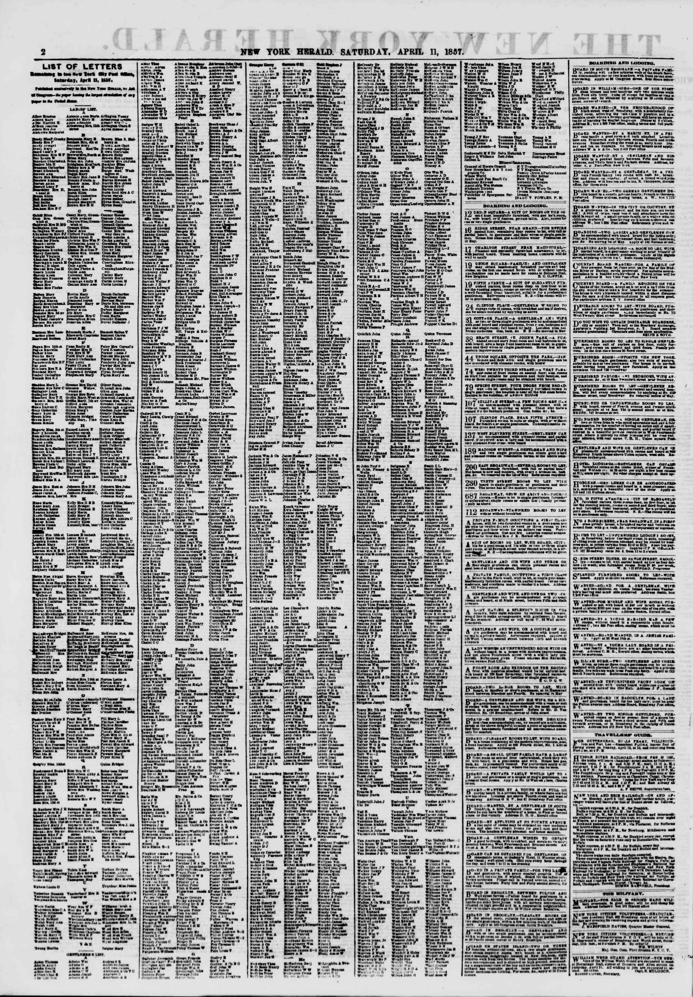 Newspaper of The New York Herald dated April 11, 1857 Page 2