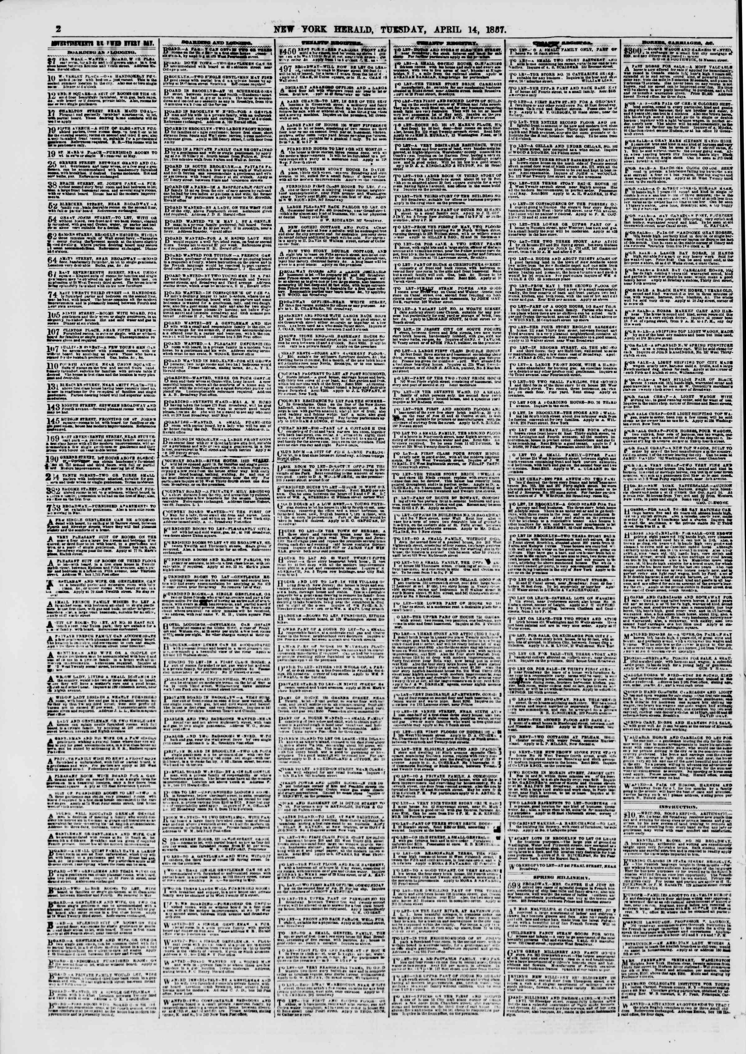 Newspaper of The New York Herald dated April 14, 1857 Page 2