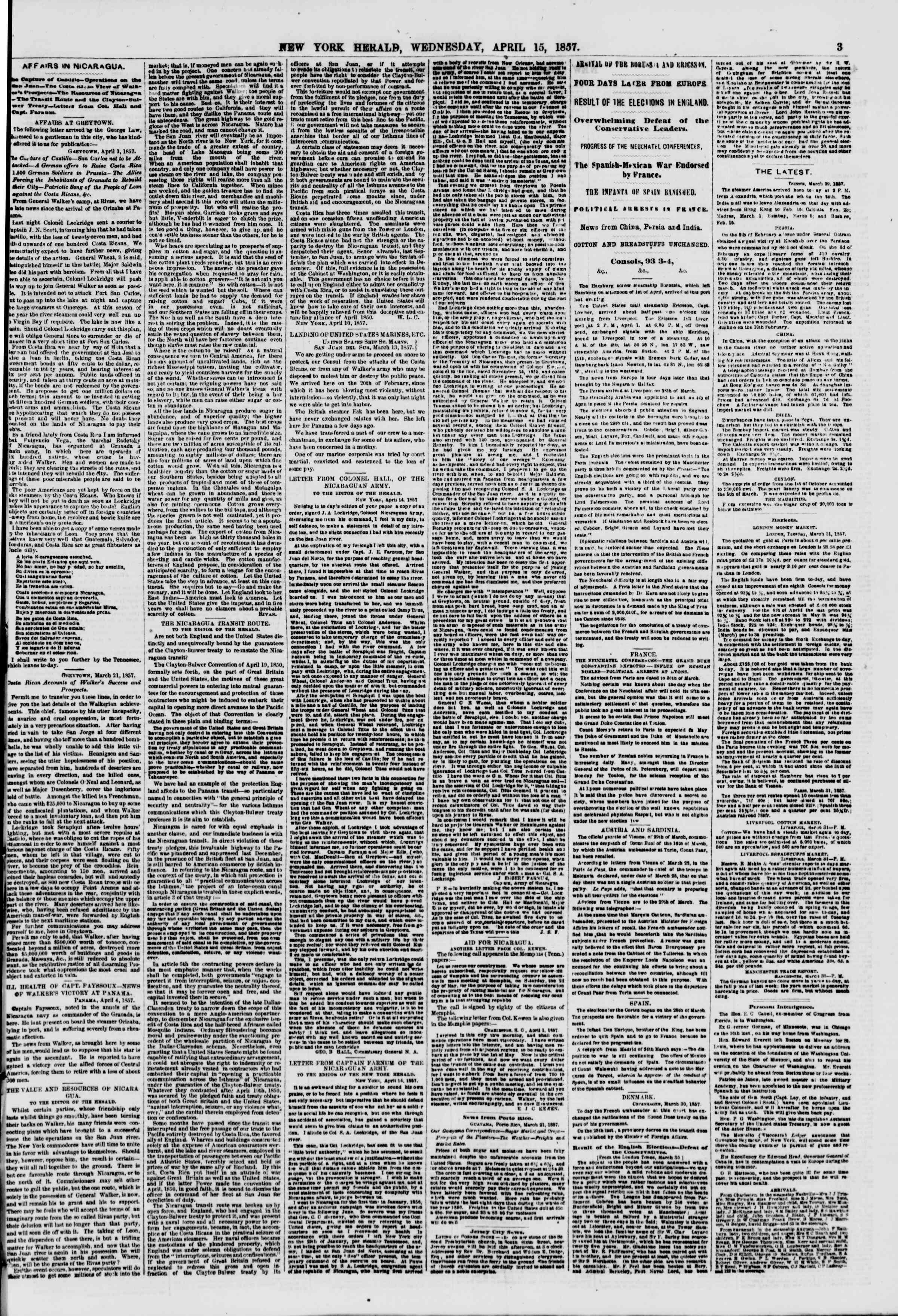 Newspaper of The New York Herald dated April 15, 1857 Page 3