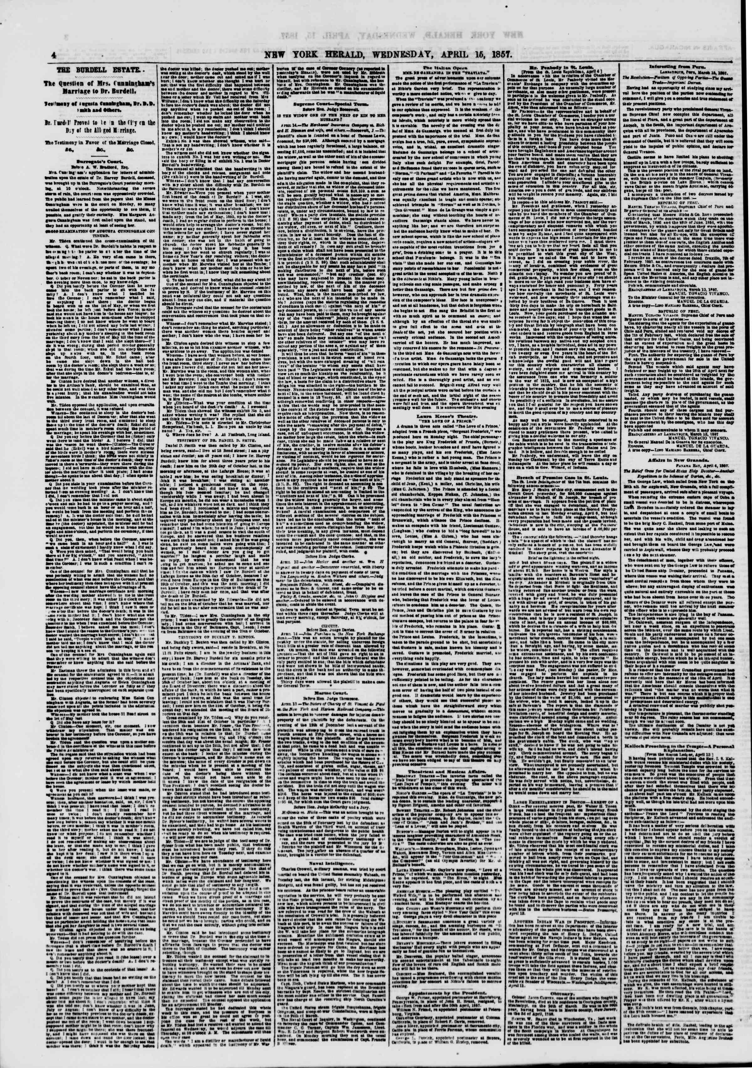Newspaper of The New York Herald dated April 15, 1857 Page 4