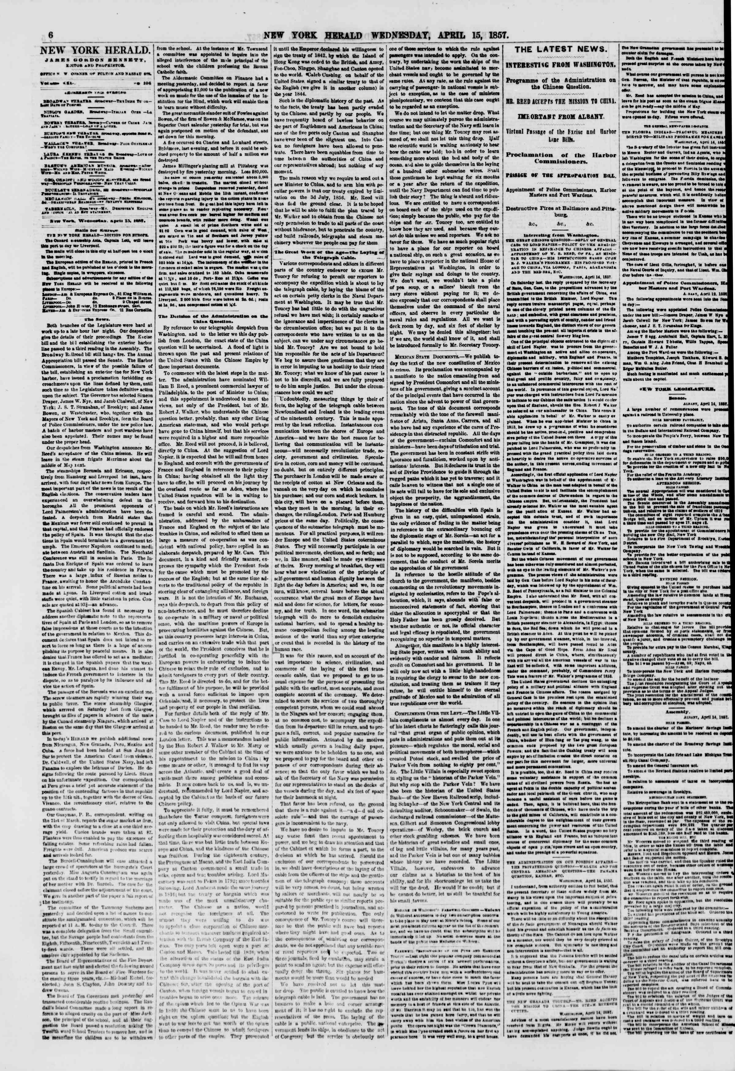 Newspaper of The New York Herald dated April 15, 1857 Page 6