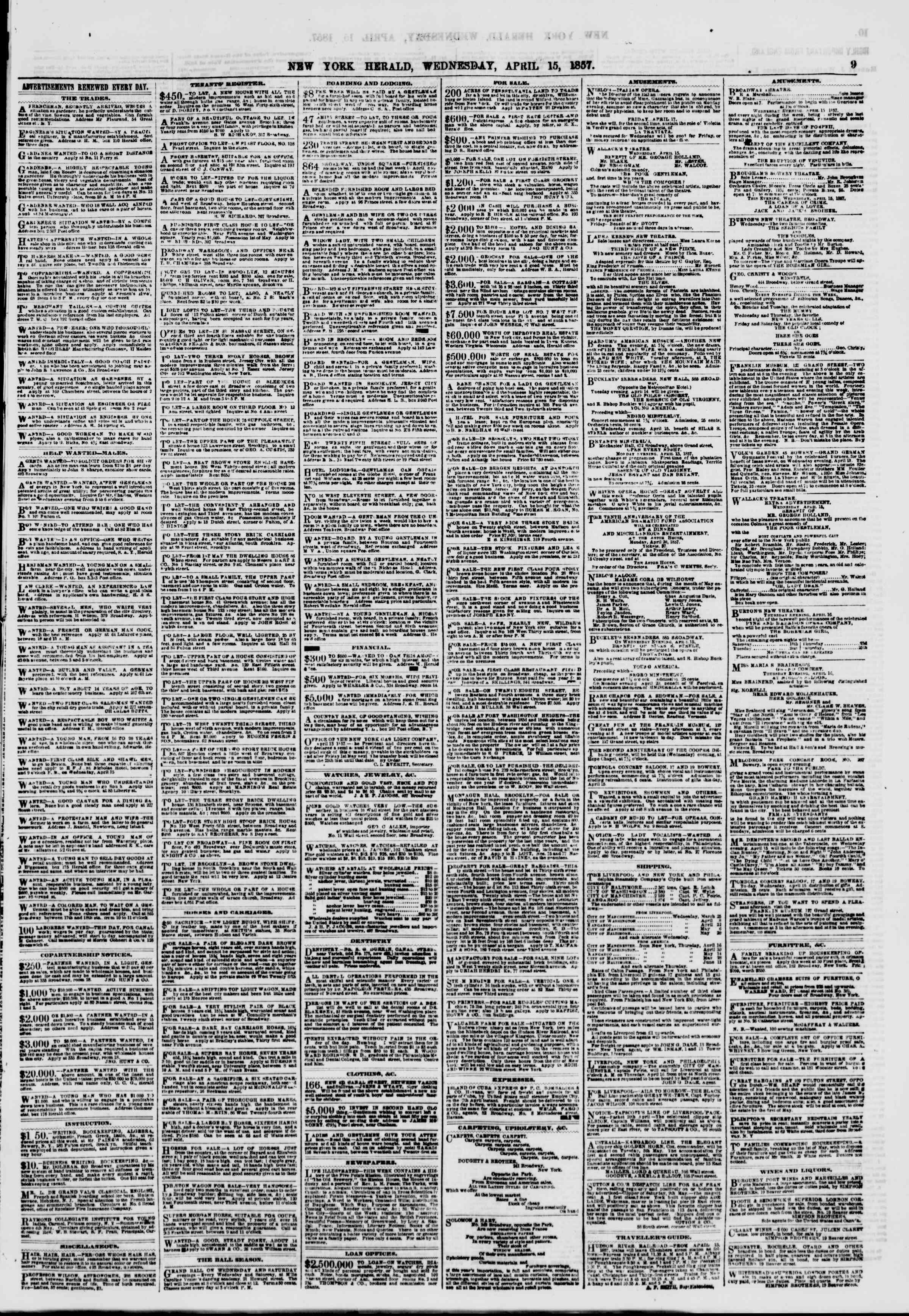 Newspaper of The New York Herald dated April 15, 1857 Page 9