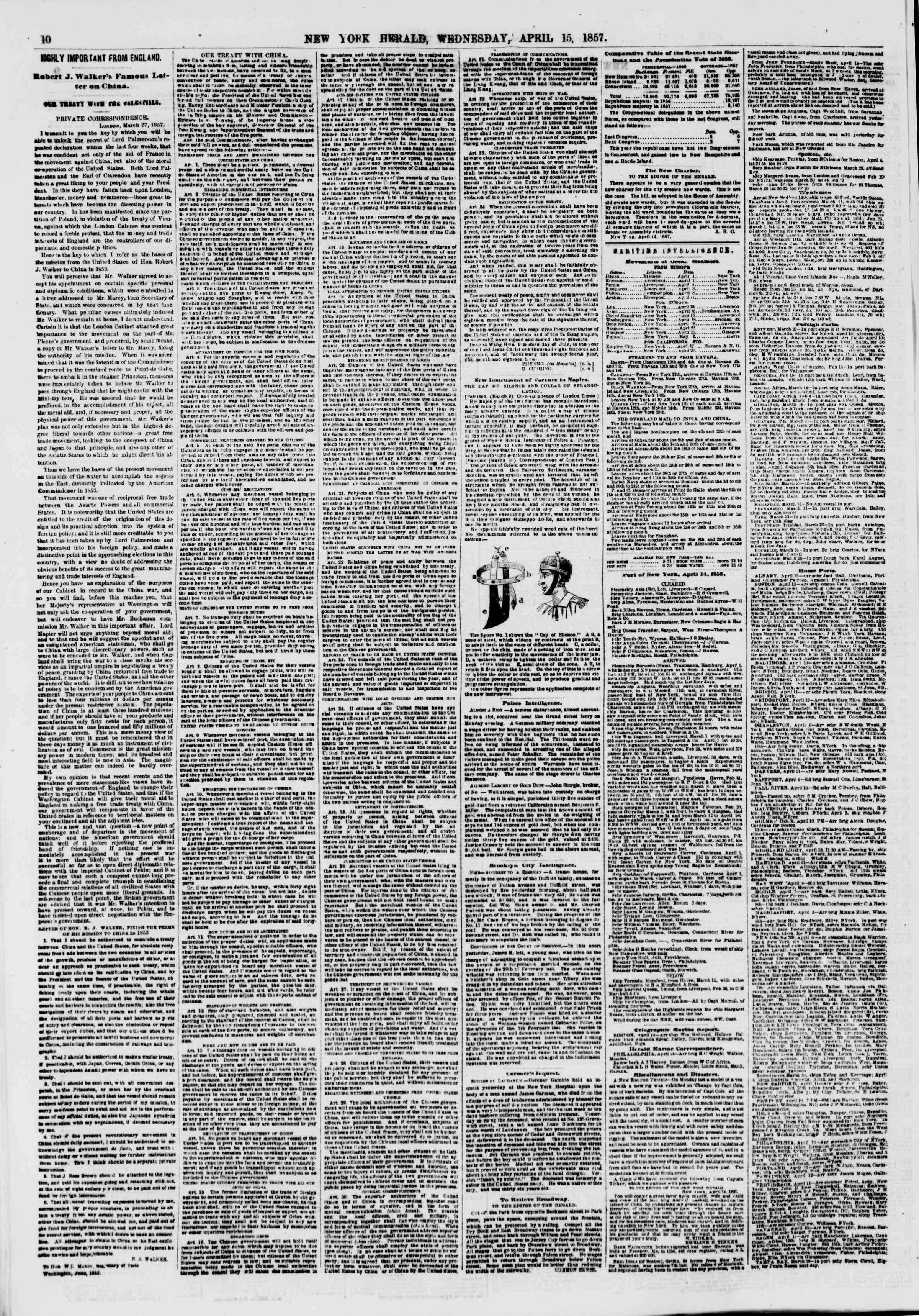 Newspaper of The New York Herald dated April 15, 1857 Page 10