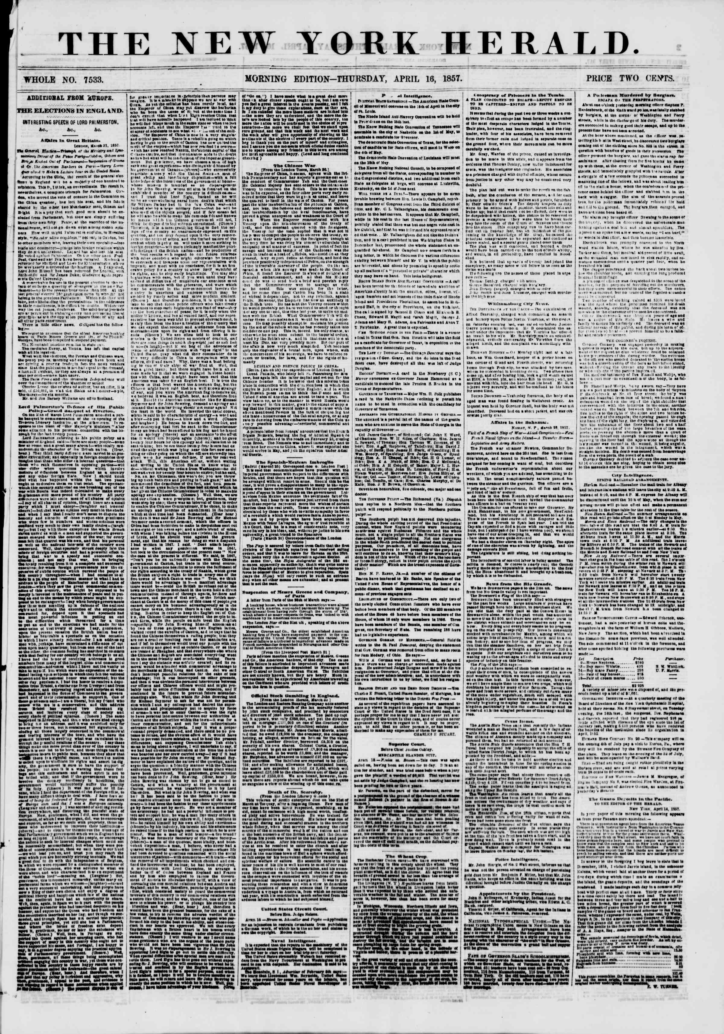 Newspaper of The New York Herald dated April 16, 1857 Page 1