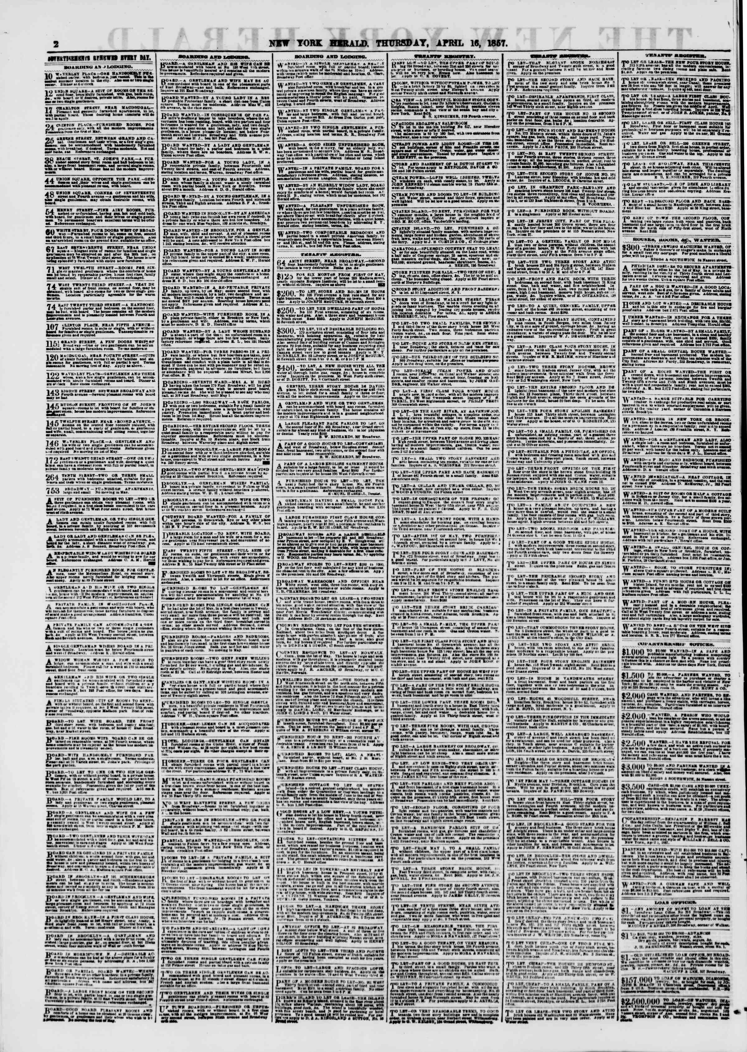 Newspaper of The New York Herald dated April 16, 1857 Page 2