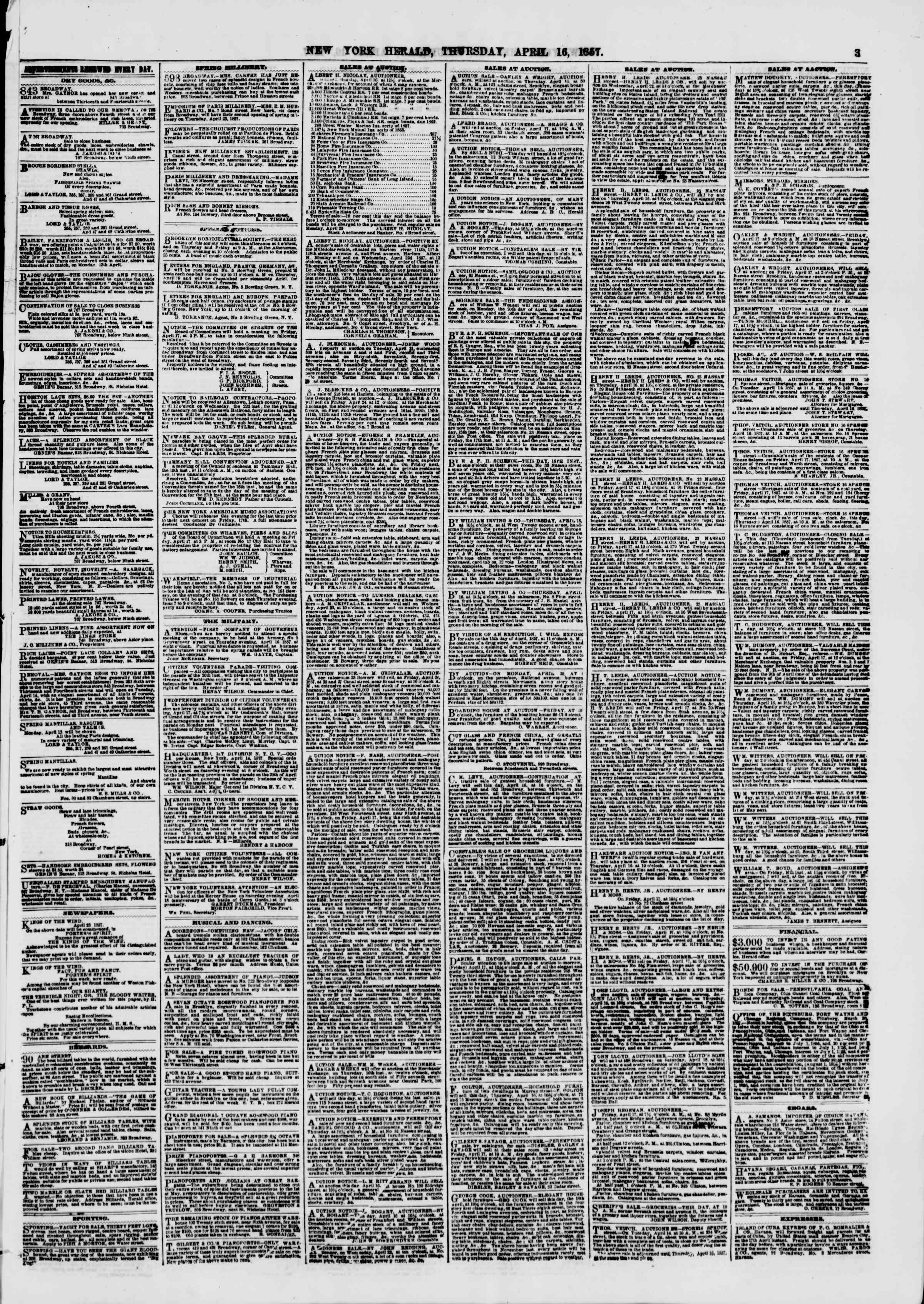 Newspaper of The New York Herald dated April 16, 1857 Page 3