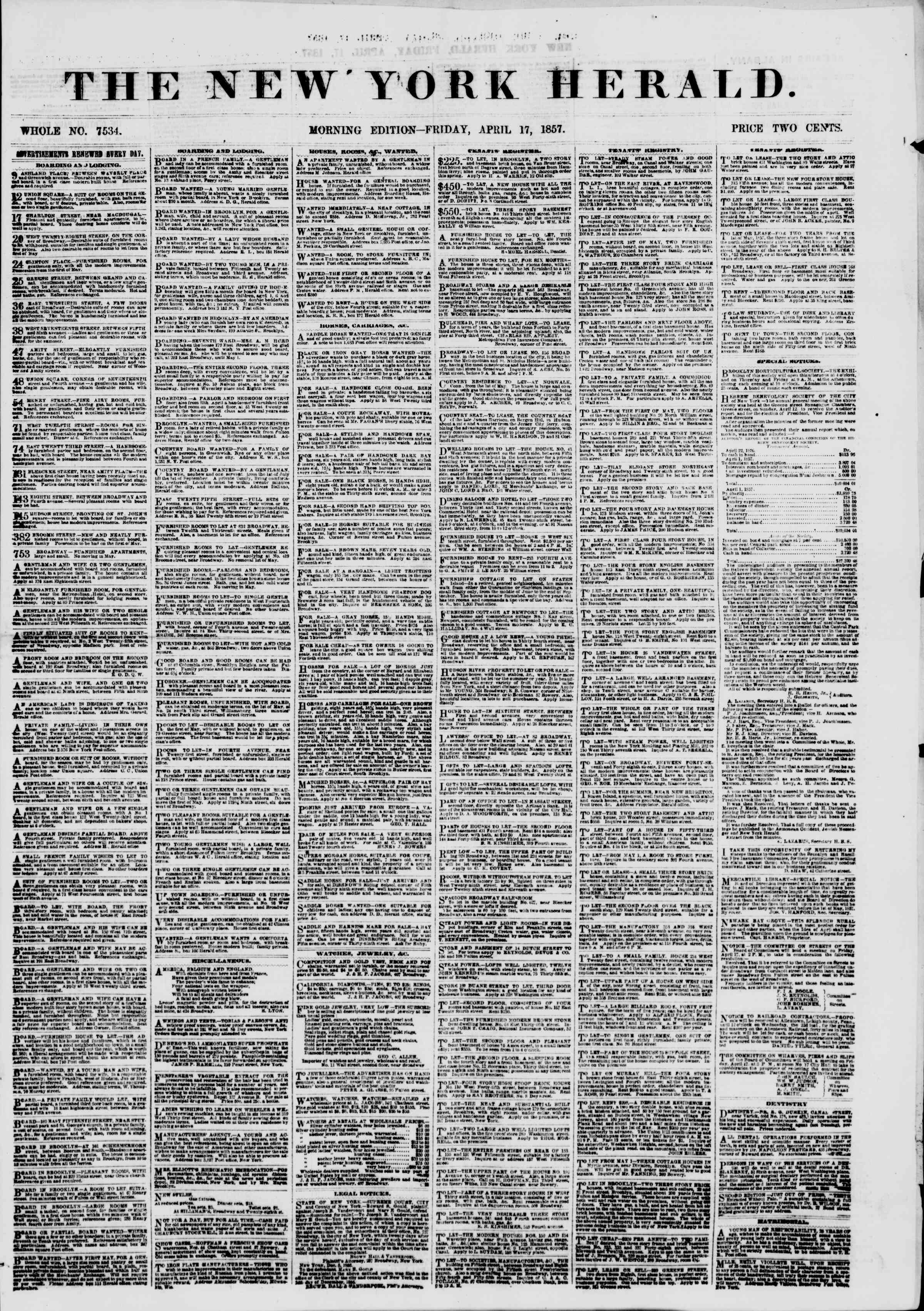 Newspaper of The New York Herald dated April 17, 1857 Page 1