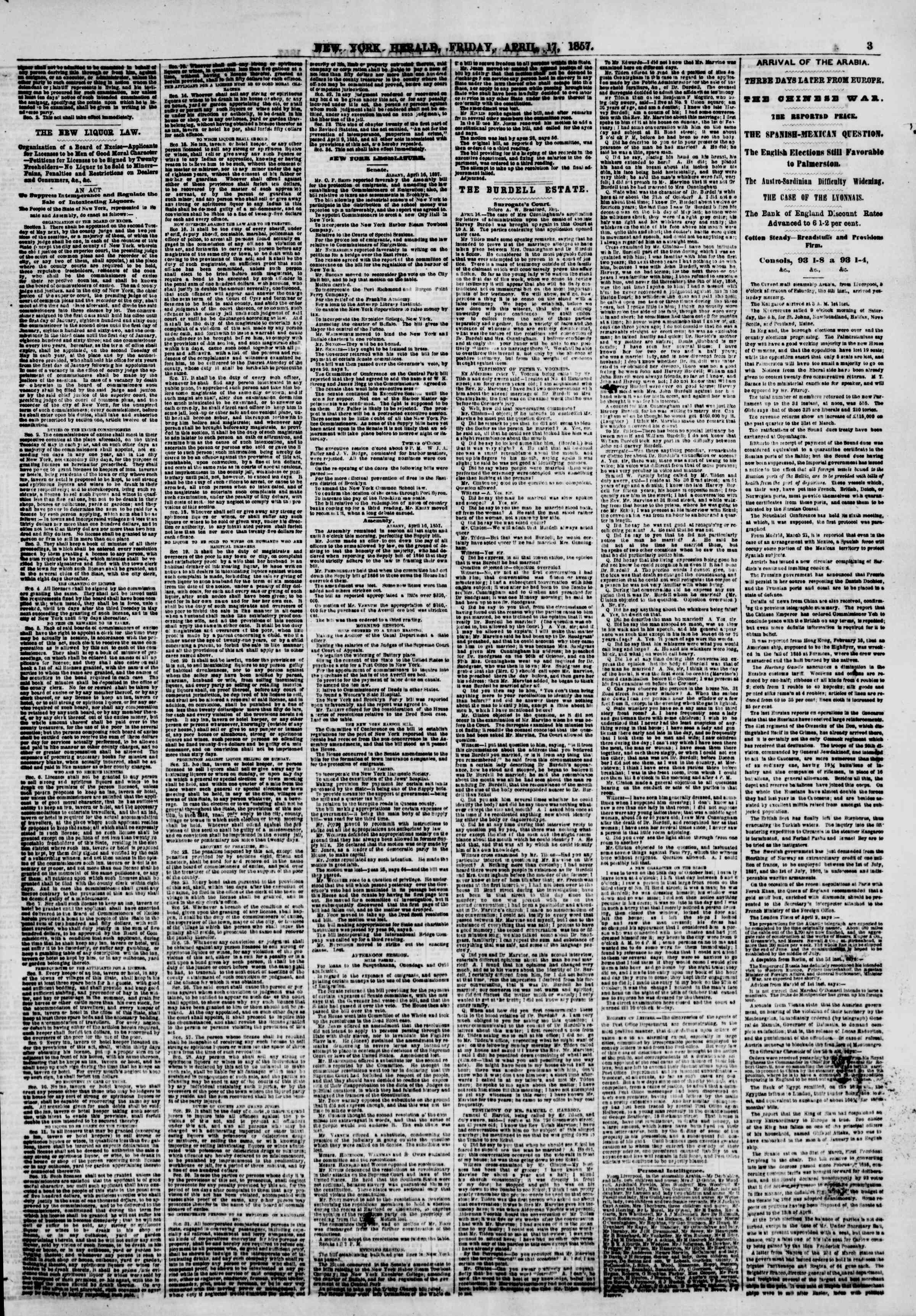 Newspaper of The New York Herald dated April 17, 1857 Page 3