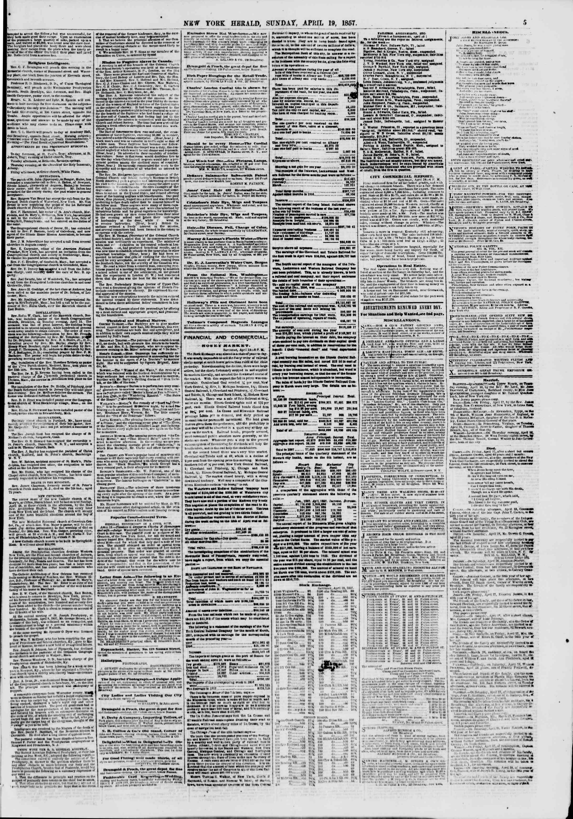 Newspaper of The New York Herald dated April 19, 1857 Page 5
