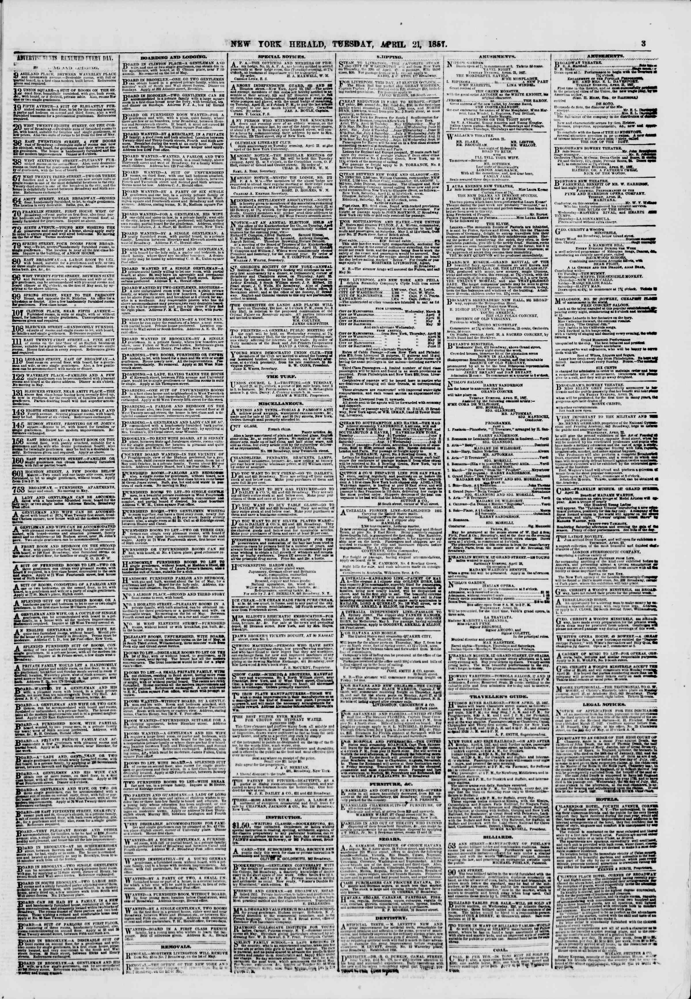 Newspaper of The New York Herald dated April 21, 1857 Page 3