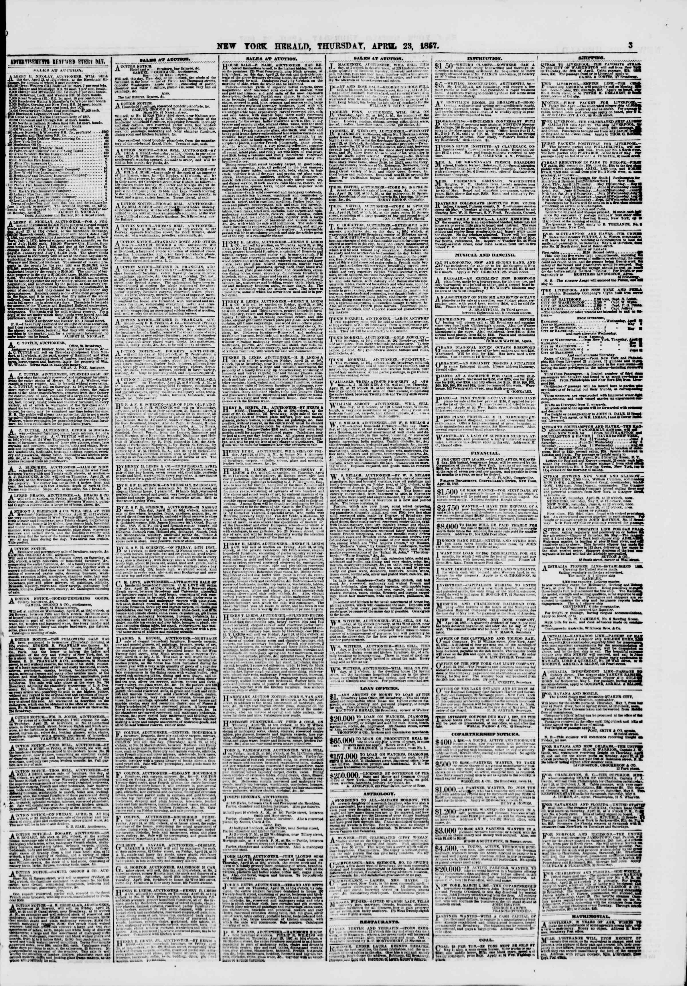 Newspaper of The New York Herald dated April 23, 1857 Page 3